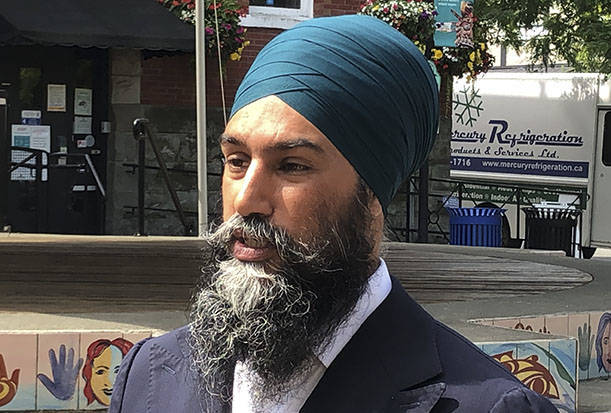 Federal NDP leader Jagmeet Singh speaks with the media in Duncan, B.C. on Thursday, July 8. (Kevin Rothbauer/Citizen)