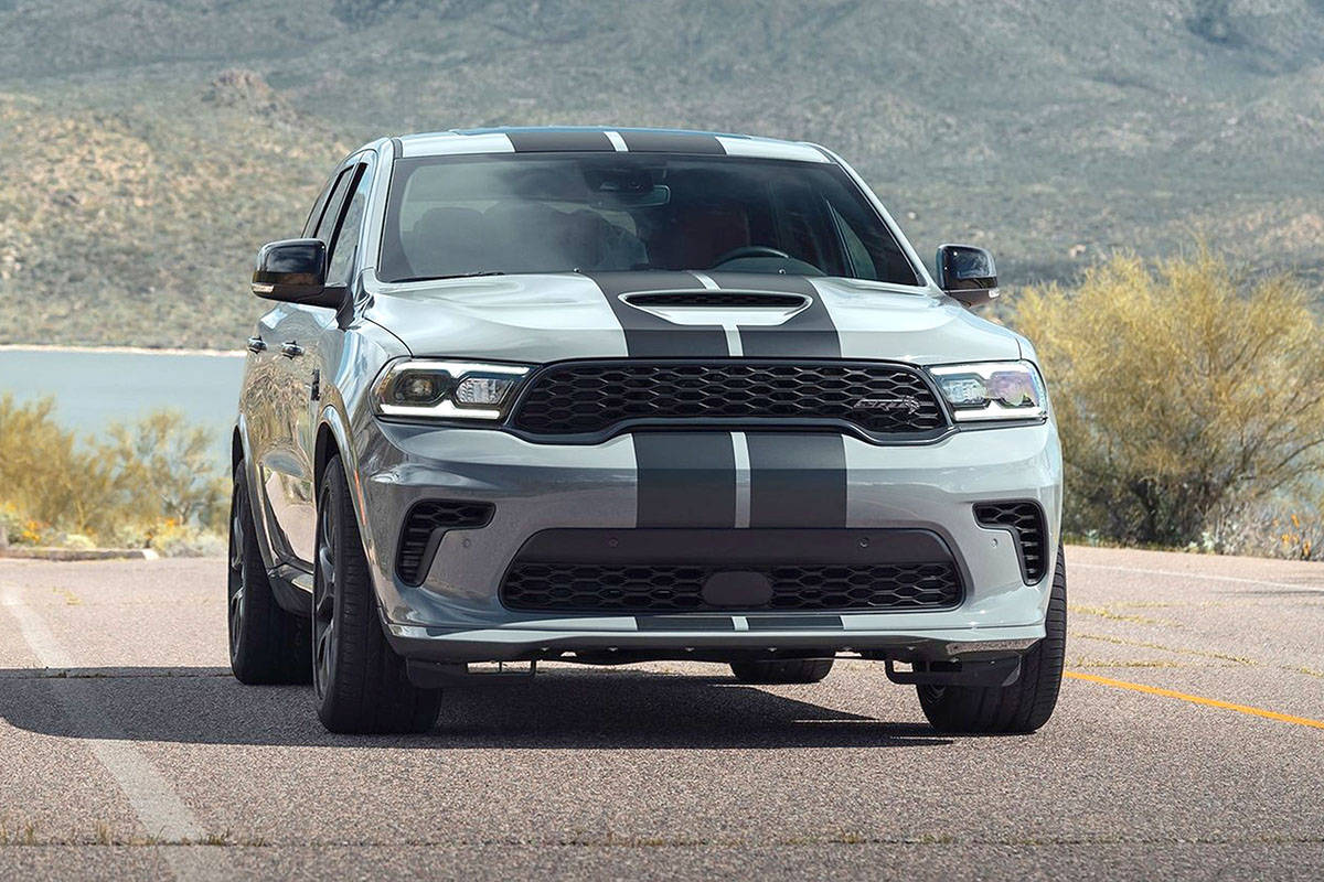 The  2021 Durango has been given a more expressive nose and grille plus a rear spoiler and new 18- and optional 20-inch wheels. PHOTO: DODGE
