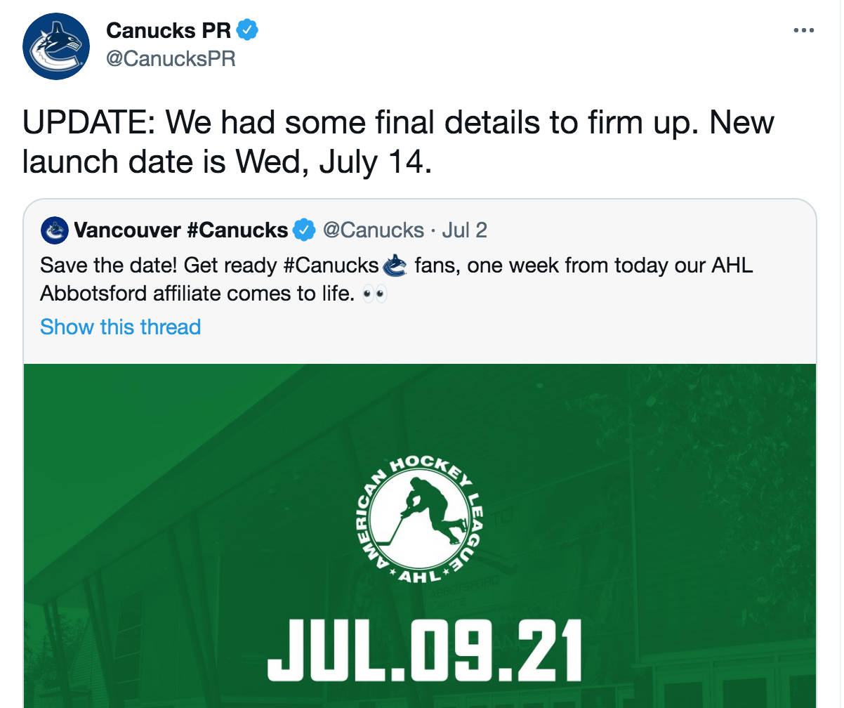 The Abbotsford AHL team franchise name, colour and logo will now not be announced until July 14 after the Canucks delayed the announcement the evening before they had originally planned to. (Canucks Twitter photo)