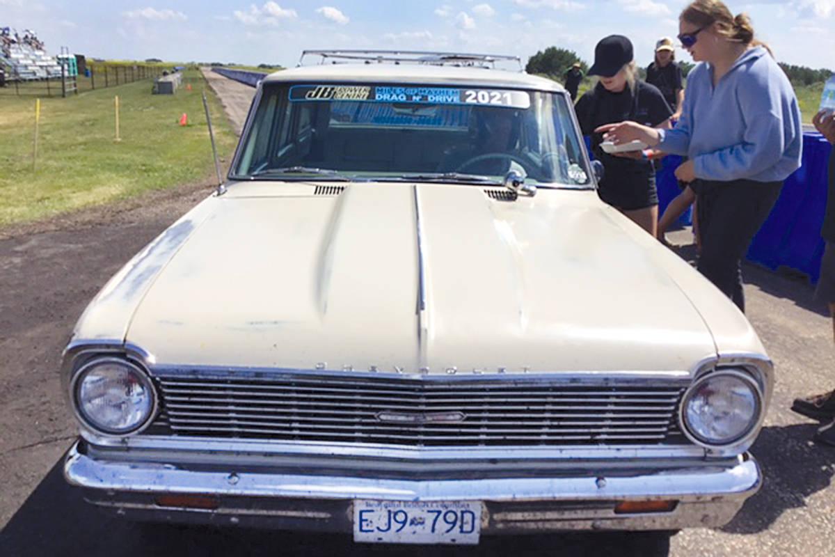 Darryl Tippe of Langley drove his 1965 Nova Wagon in the 1,700 km Miles of Mayhem Drag N Drive in Alberta and Saskatchewan. (Leah Bousfield/Rimbey Review)