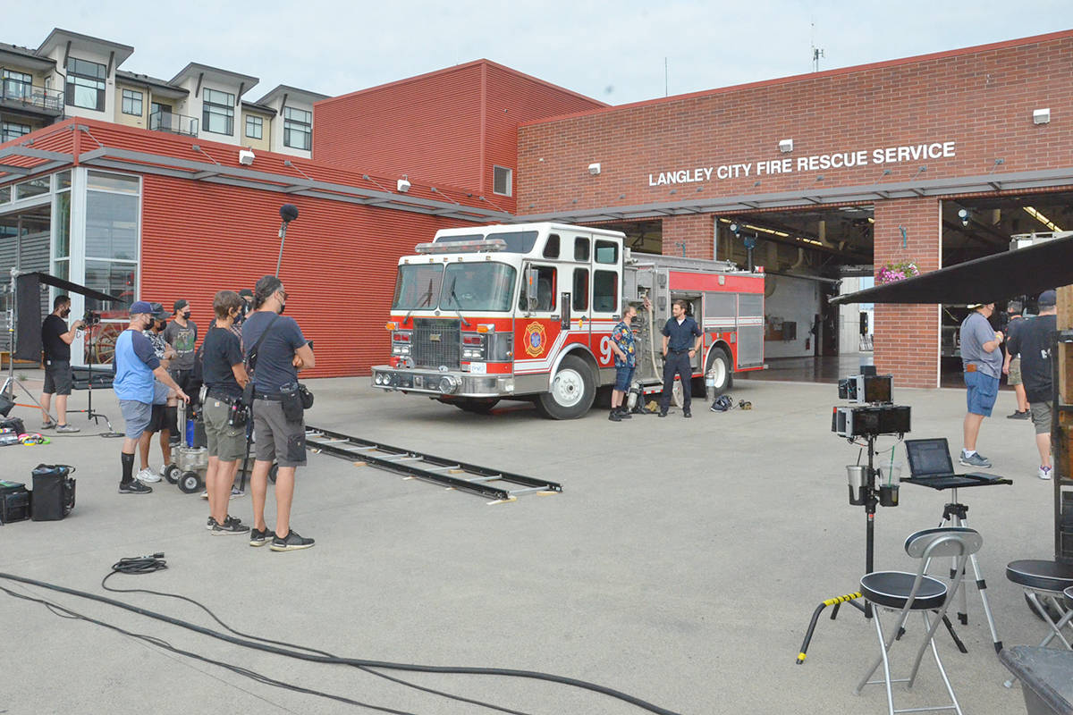 Film crews used Langley City's fire hall for shooting July 9, 2021. (Heather Colpitts/Langley Advance Times)