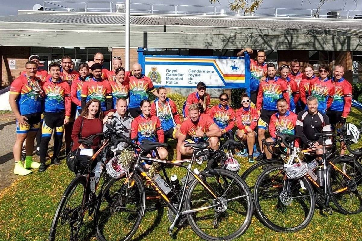 Before the pandemic, the Cops for Cancer Tour de Valley team gathered in White Rock. Dozens of officers are fundraising now for the annual event. (White Rock RCMP Twitter photo)