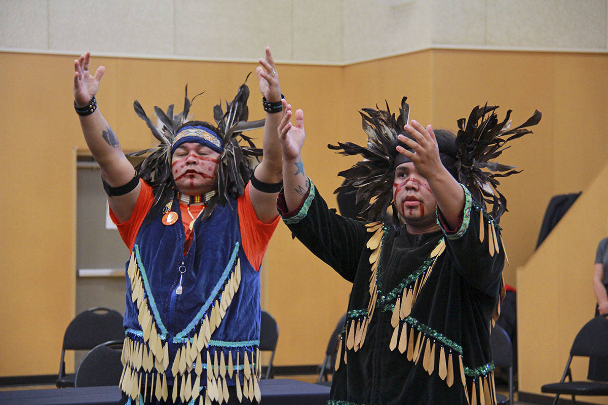 Dancers and singers welcomed First Nations chiefs, council members and witnesses into the Songhees Wellness Centre July 9 near Victoria, where the South Island First Nations called for an end to the vandalism in the region. (Jane Skrypnek/Black Press Media)