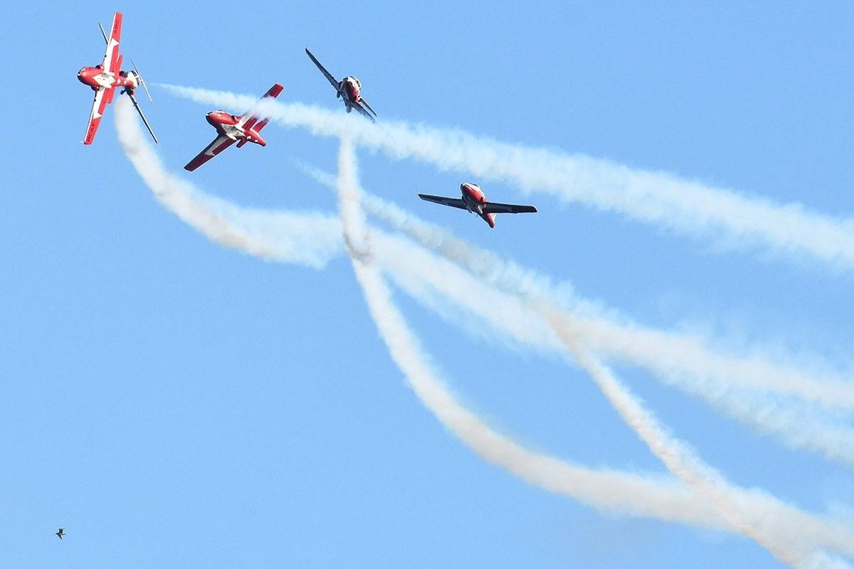 The Snowbirds perform over White Rock in 2017. (Lola Peverley photo)