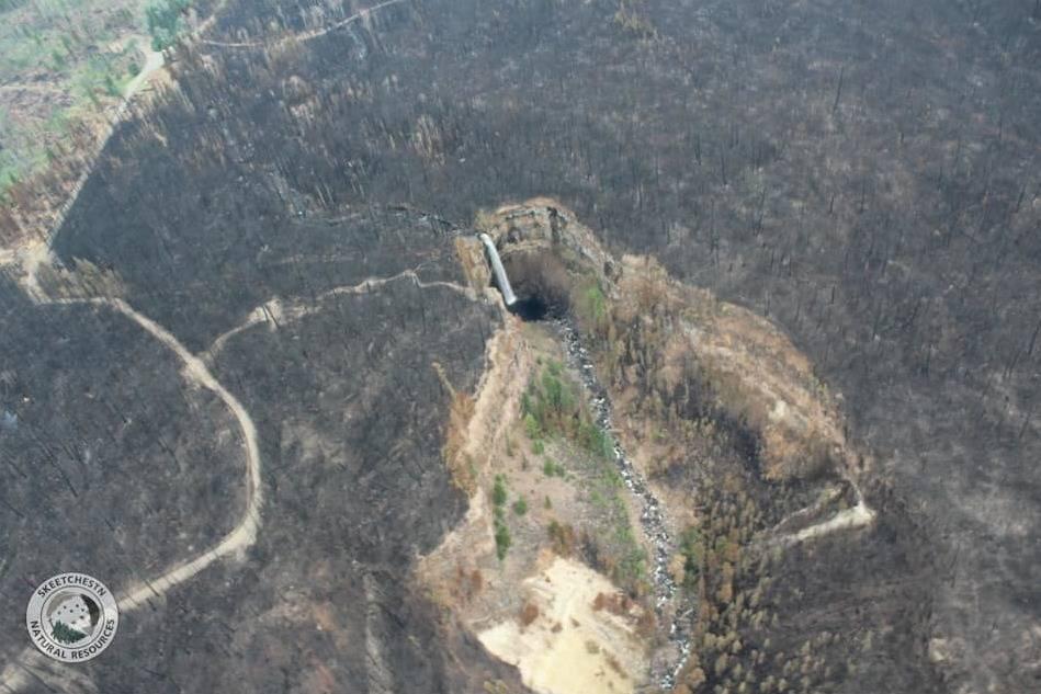 Deadman Falls after Sparks Lake wildffre on July 9, 2021. (Skeetchestn Natural Resources)