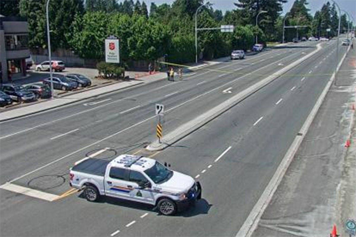 Lougheed Highway at Haney Bypass/222nd Street, looking west at 12:15 p.m. on Friday, July 9, 2021. (Drive BC)