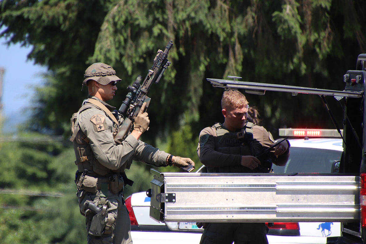Around 10 a.m. on Friday, July 9, 2021 officers received a report of a man who had barricaded himself inside a house in the 22100 block area of Lougheed Highway. As a precaution police had 222nd Street at Lougheed Highway closed in both directions. (Shane MacKichan/Special to The News)