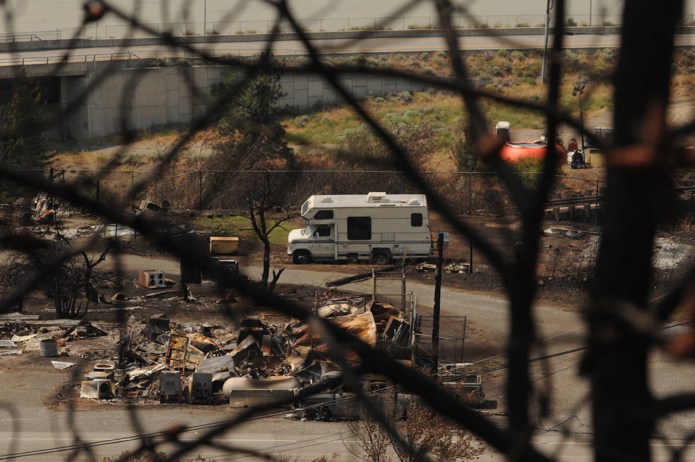 A view of Lytton, B.C. on Friday, July 9, 2021 from Highway 1, nine days after a wildfire ripped through the village on June 30, 2021. (Jenna Hauck/ Black Press Media)