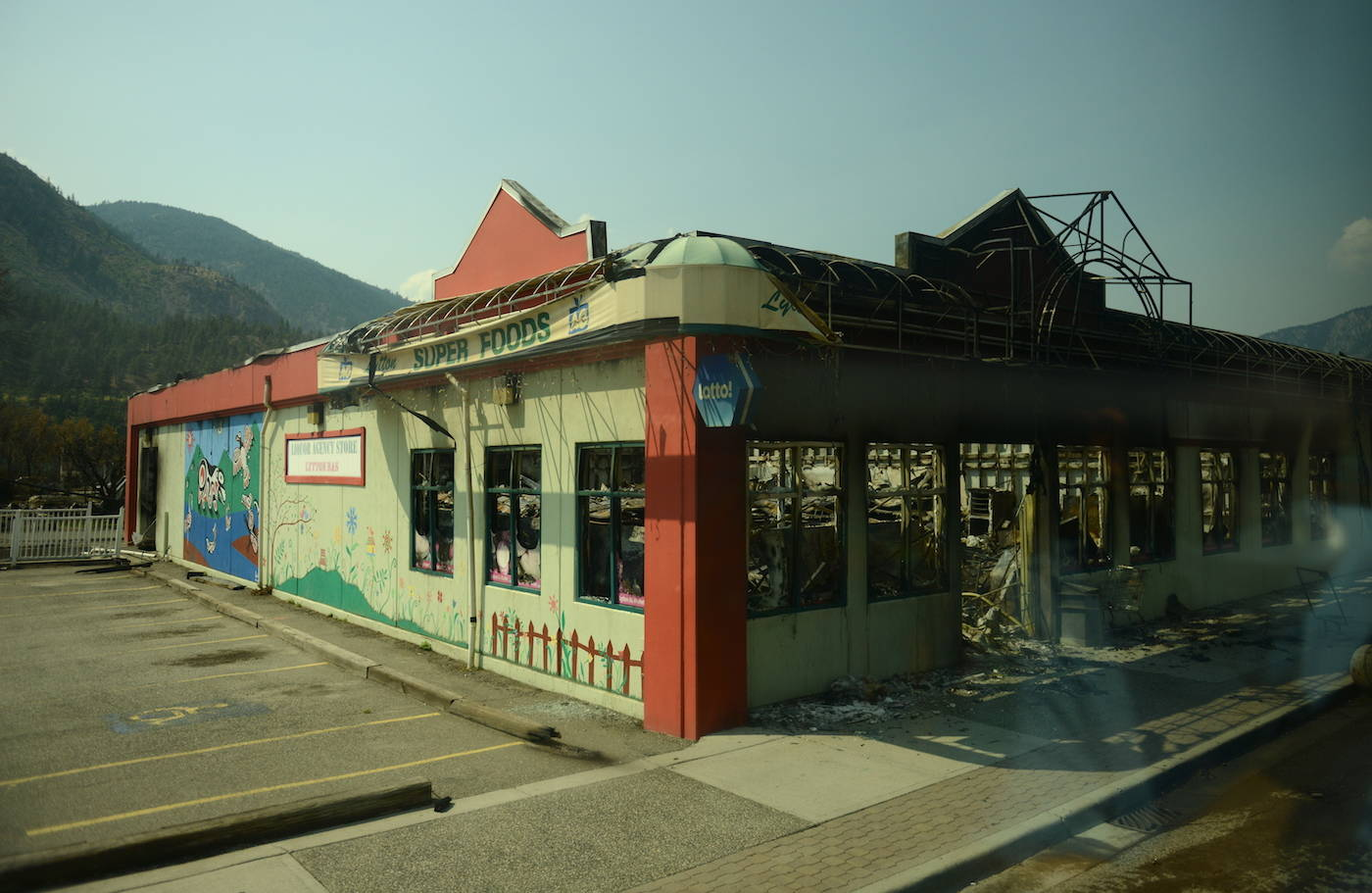 The Lytton Super Foods grocery store in Lytton, B.C. on Friday, July 9, 2021, nine days after a wildfire ripped through the village on June 30, 2021. (Jenna Hauck/ Black Press Media)