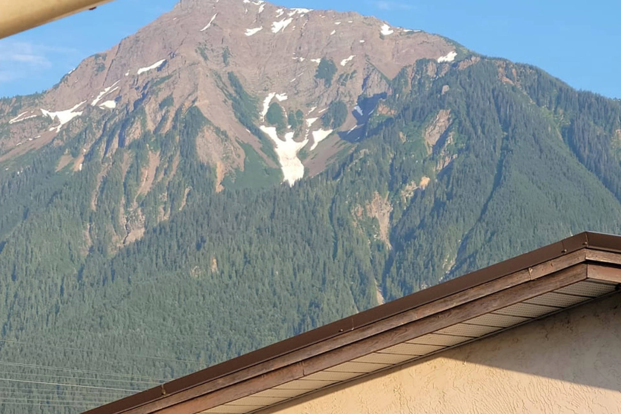 The Angel of Mt. Cheam spreads her wings on the side of the mountain, overlooking Agassiz. This angel forms more often than not in the spring or summer as the snow melts off the mountain and has been featured in many photographs and even a postcard. (Contributed photo/Sarah Gawdin)