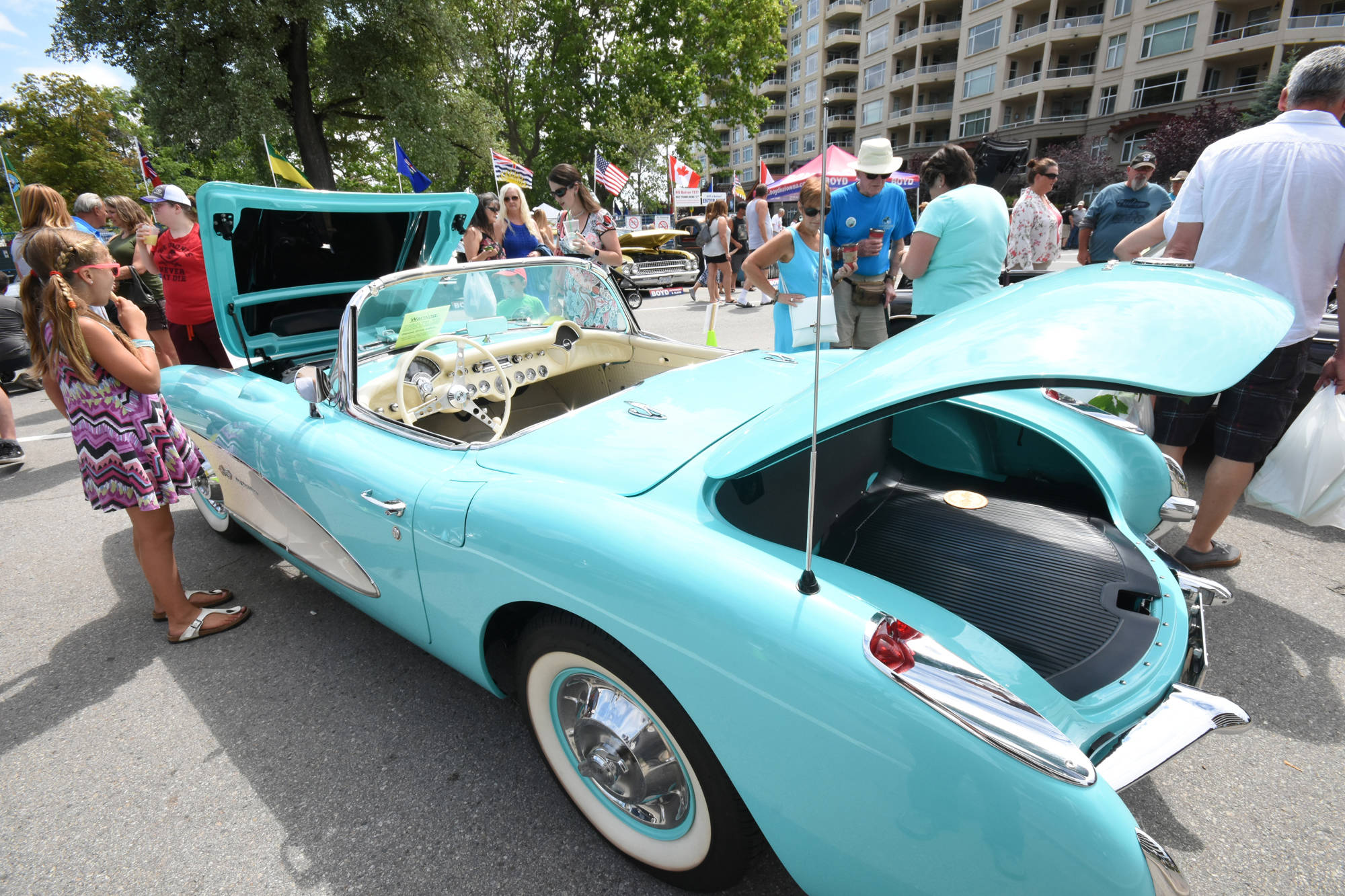 The Peach City Beach Cruise in Penticton has featured many vintage and collectible vehicles, including this baby blue Corvette convertable. (Black Press file photo)