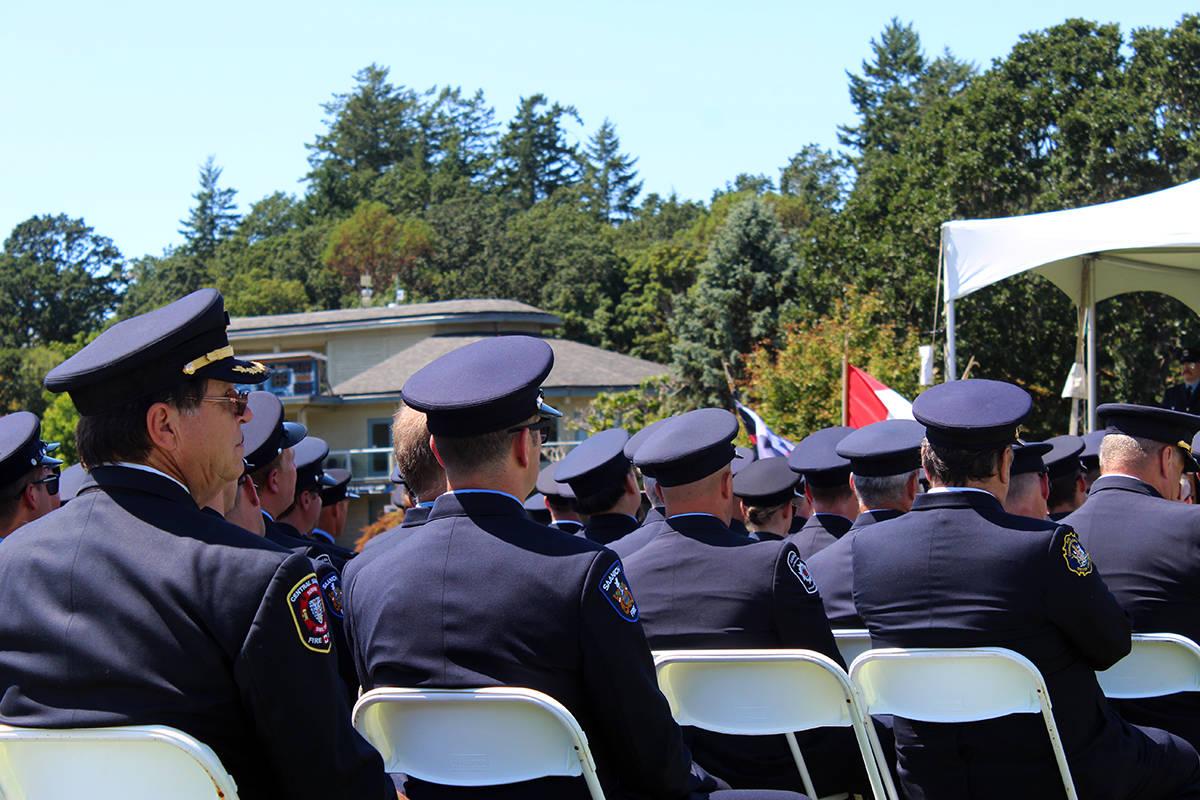 Members of enforcement at the memorial service. (Megan Atkins-Baker/News Staff)