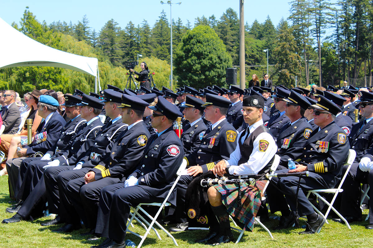 Members of enforcement sit together in honour of the late John Cassidy, where a variety of heartfelt speeches in Cassidy's memory were heard. (Megan Atkins-Baker/News Staff)