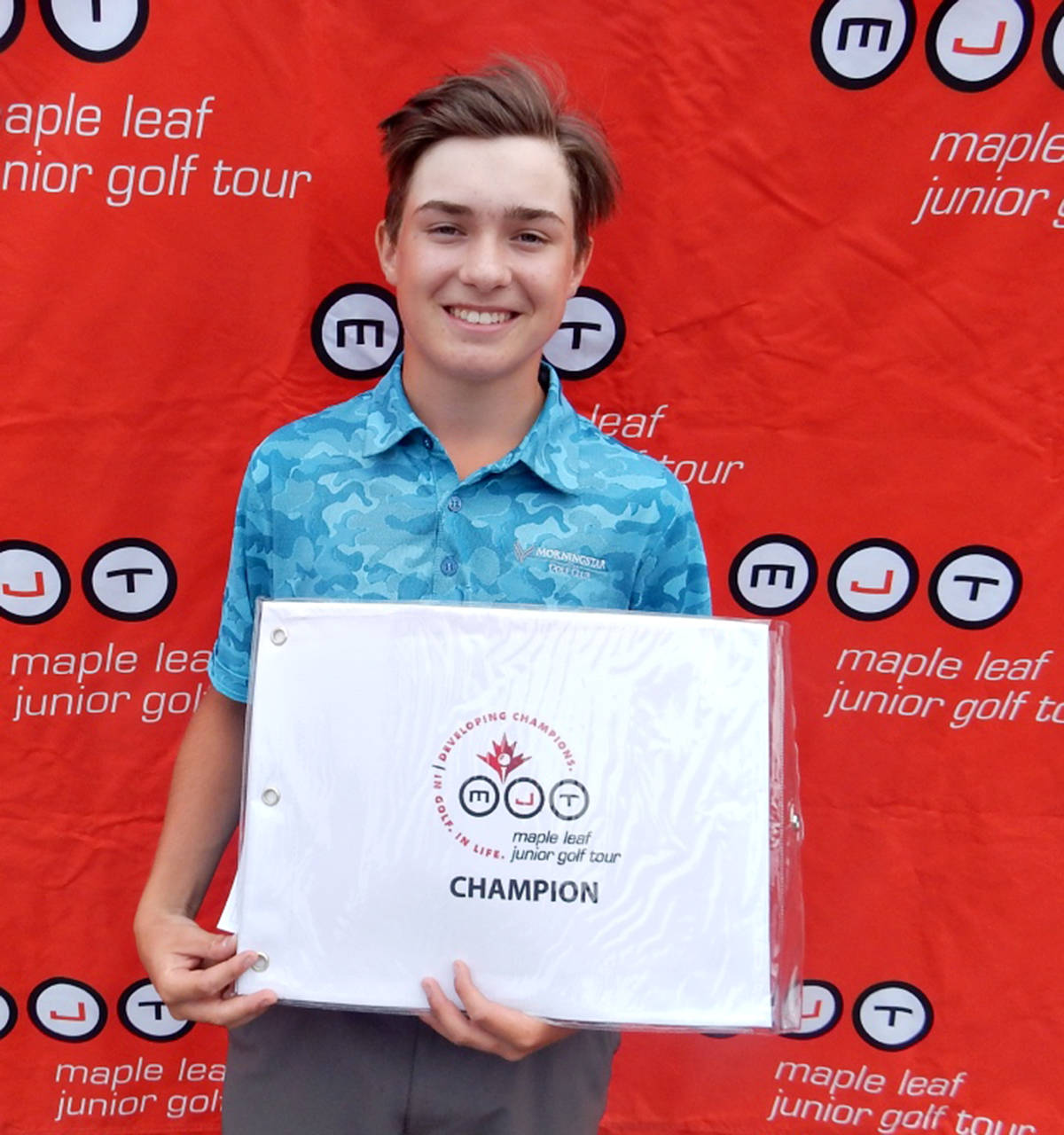 Caleb Davies, 16, of Langley, fired rounds of 70 and 69 (139) for not only his first MJT title but also low overall score of the tournament in Chilliwack on July 6-7. (MJT)
