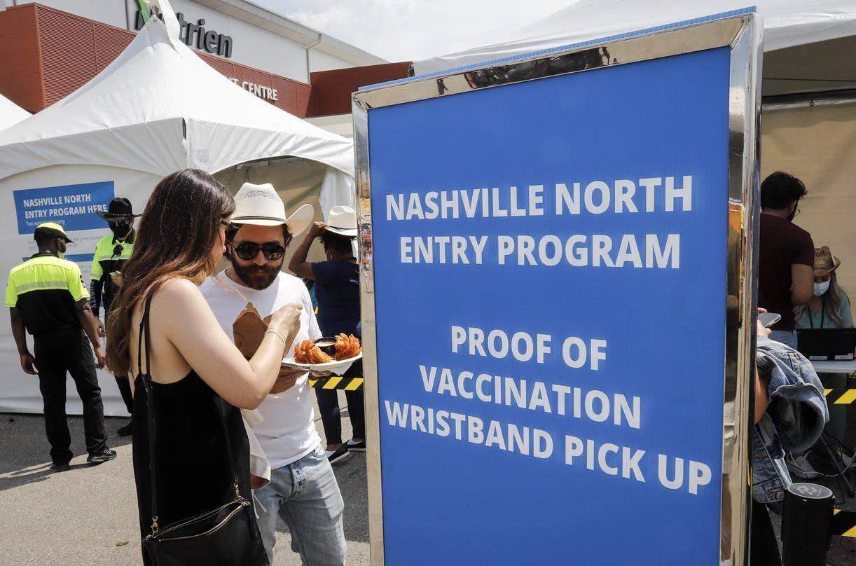 Visitors to Nashville North are shown at the Calgary Stampede in Calgary, Friday, July 9, 2021. THE CANADIAN PRESS/Jeff McIntosh