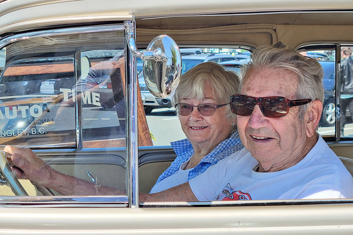 Two who took part in the annual cancer fundraiser organized by the Old Fart Car Club and Brogan's Diner in Langley City on Saturday, July 10. (Dan Ferguson/Langley Advance Times)