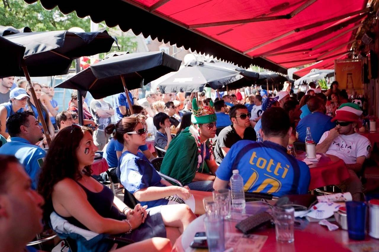 Italy soccer fans watch their team lose 4-0 to Spain in the UEFA Euro 2012 soccer championship final, at Cafe Diplomatico in Toronto, Sunday, July 1, 2012. Owners of Italian restaurants and English pubs said they expect their patios to fill up for the final match of this year's Euro cup between Italy and England, at least to the capacity allowed under remaining rules meant to curb the spread of COVID-19. THE CANADIAN PRESS/Michelle Siu