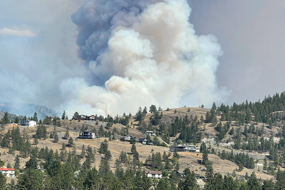 OK Falls fire grows to over 100 ha and an evacuation order has been issued for 77 homes on Sunday. (Sue Birds photo) OK Falls fire grows to over 100 ha and an evacuation order has been issued for 77 homes on Sunday. (Sue Birds photo)