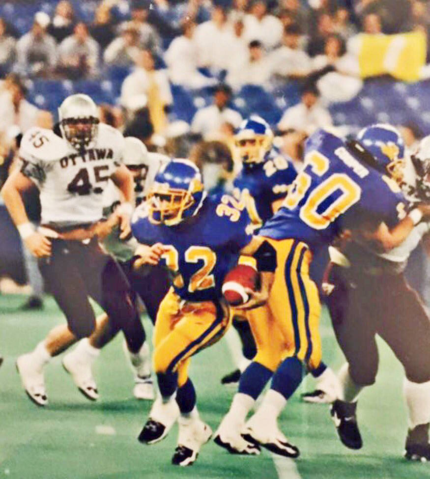 Dino Camparmo, shown here with the ball, was a talented athlete, competing in several sports while attending UBC. (Maurizio Camparmo/Special to the Langley Advance Times)