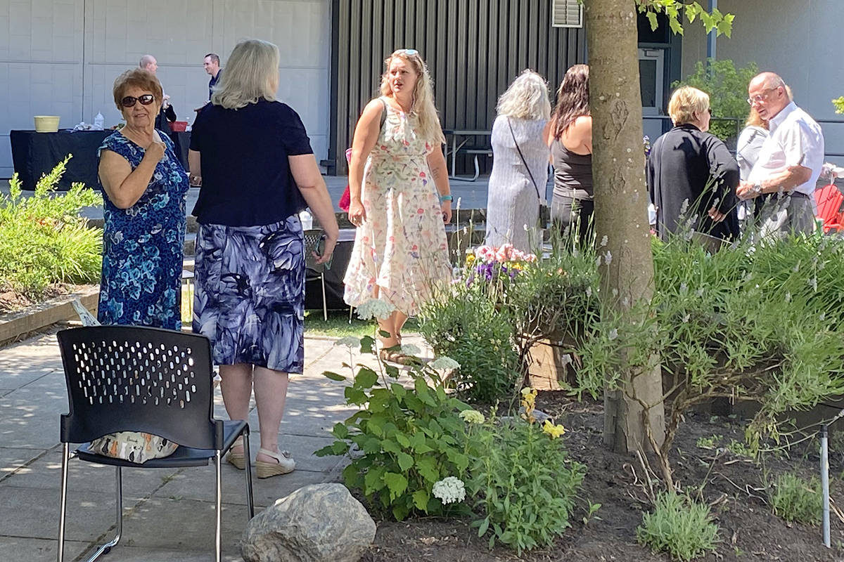 Dino's Garden was unveiled at Brookswood Secondary on July 9, 2021. It's named for teacher Dino Camparmo. (Lisa Farquharson/Langley Advance Times)
