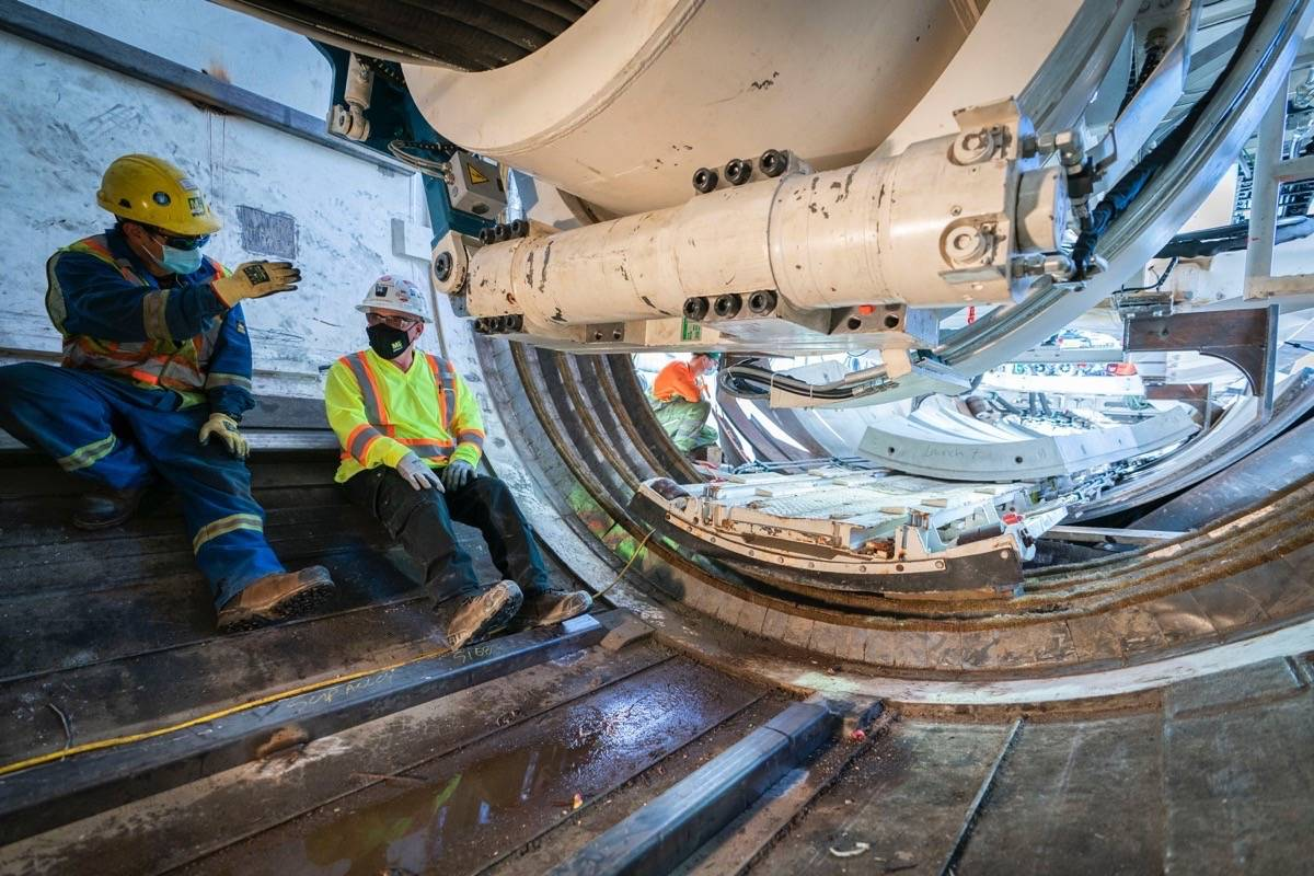 Tunnel boring machine works on the largest of Trans Mountain trenchless crossings, 2.6 km under Burnaby Mountain, May 2021. (Trans Mountain)