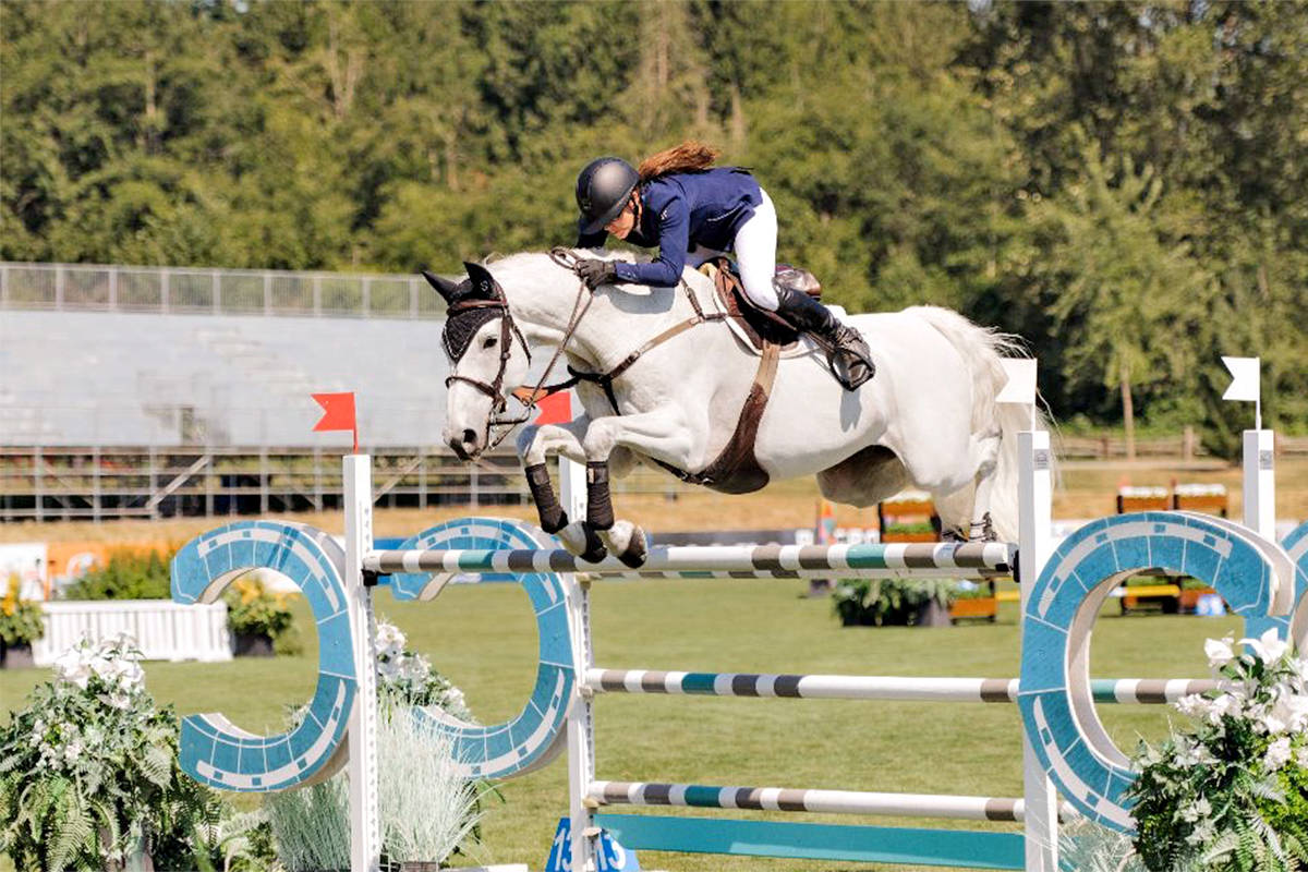 Tamie Phillips (CAN) and Ecatino won the $20,000 Odlum Brown Grand Prix at Thunderbird Show Park's Western Family on Sunday, July 11. (Quinn Saunders/tbird)
