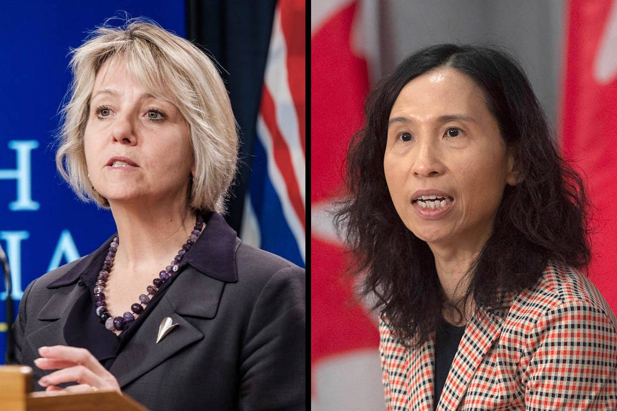 Provincial health officer Dr. Bonnie Henry and Canada's chief public health officer Theresa Tam. (B.C. government photos and Canadian Press/Adrian Wyld)