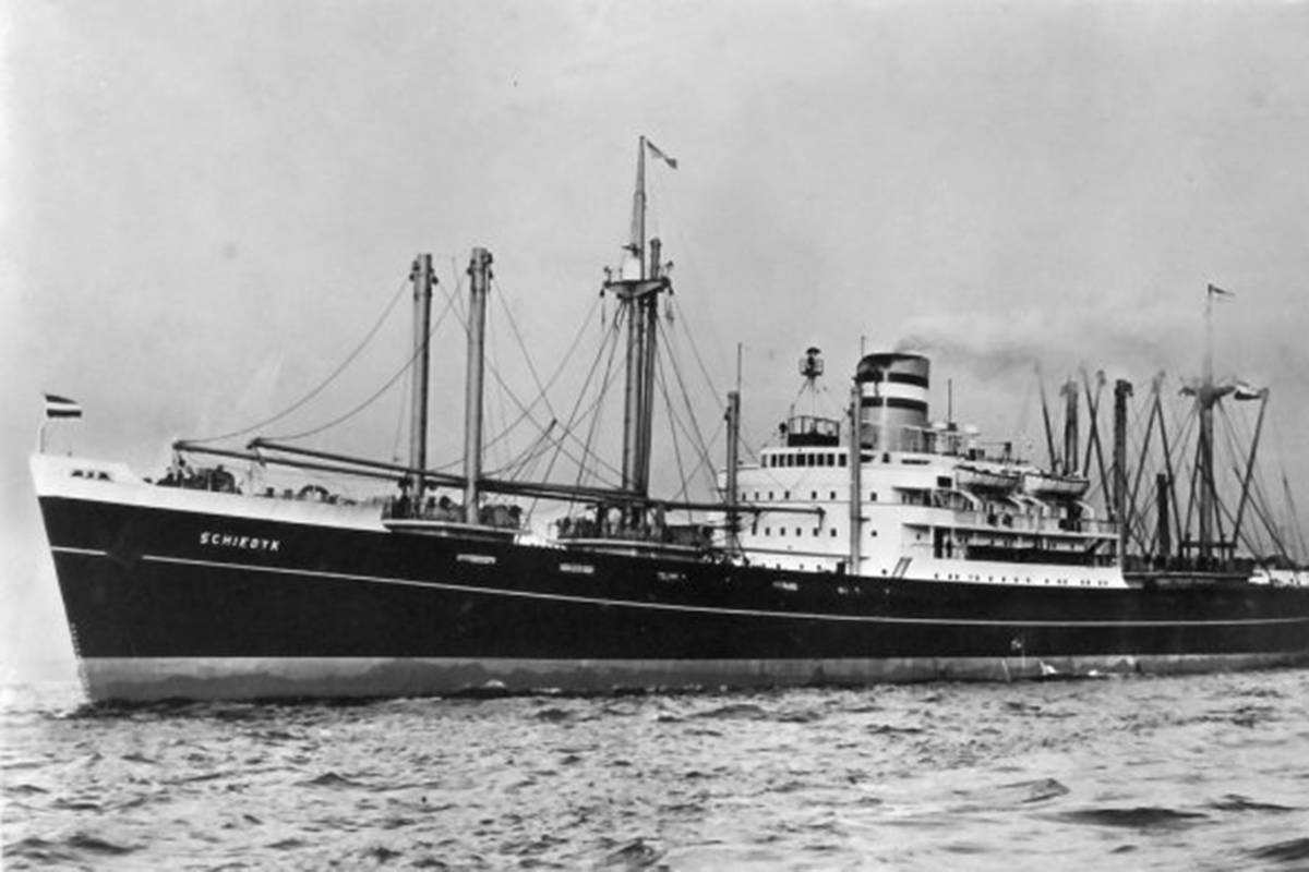The MV Schiedyk is shown in this handout image. Tonnes of bulk fuel has been safely removed from a ship that sank off the west coast of Vancouver Island more than half a century ago. THE CANADIAN PRESS/HO-Bligh Island Shipwreck Response *MANDATORY CREDIT*