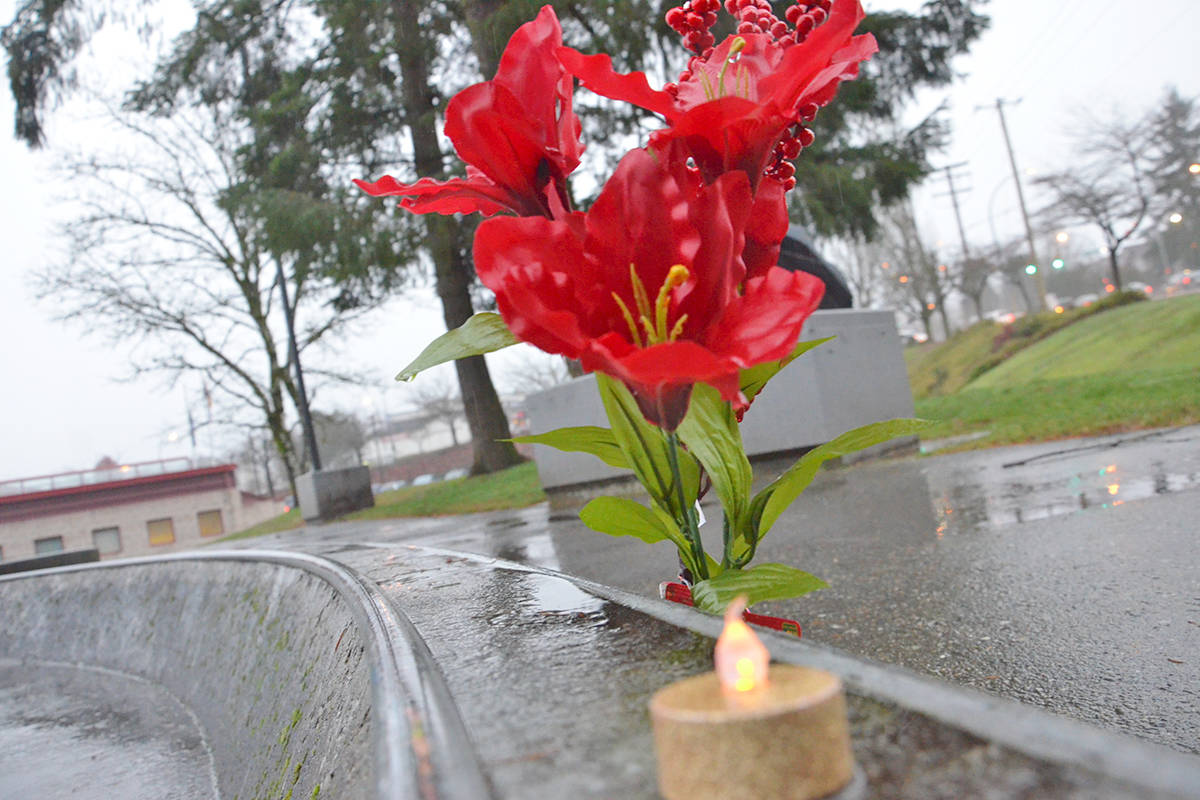 Memorials can be seen at the Walnut Grove Skate Park for Carson Crimeni who died Aug. 7, 2019. (Heather Colpitts/Langley Advance Times files)