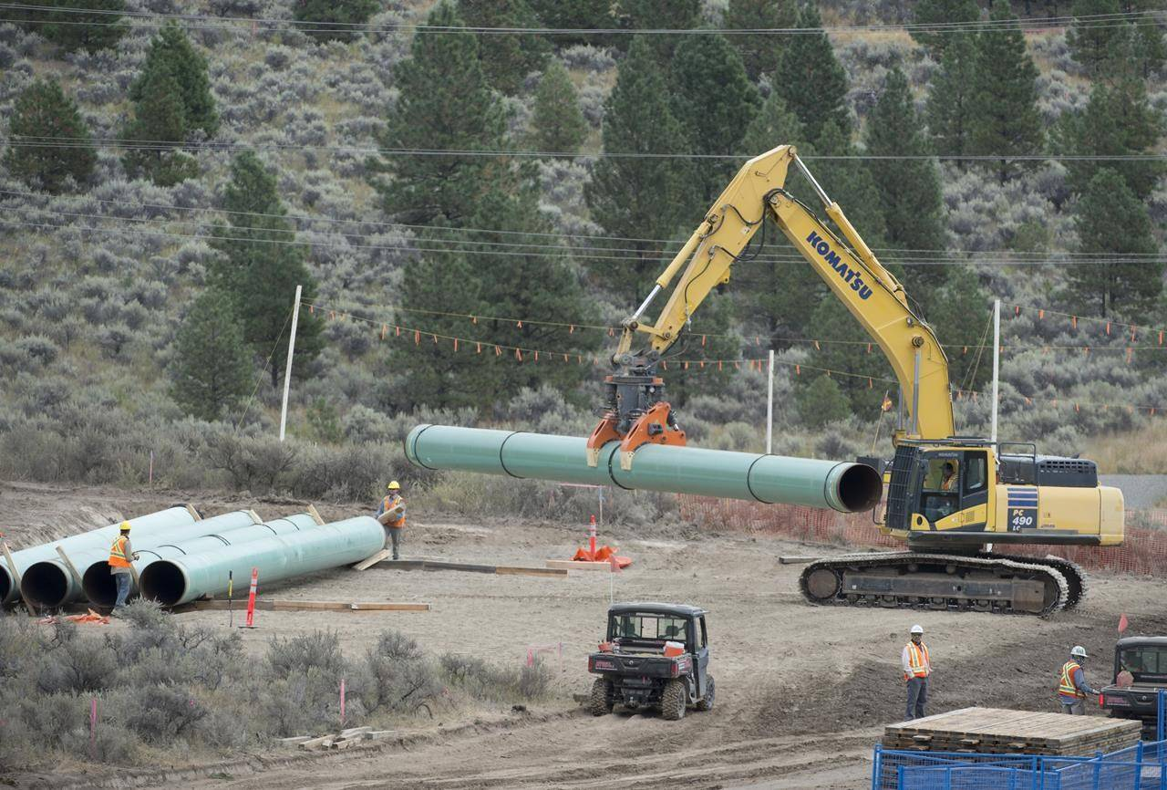 Construction of the Trans Mountain pipeline is seen under way in Kamloops, B.C., on September 1, 2020. The line will come through North Langley. (Canadian Press/Jonathan Hayward)