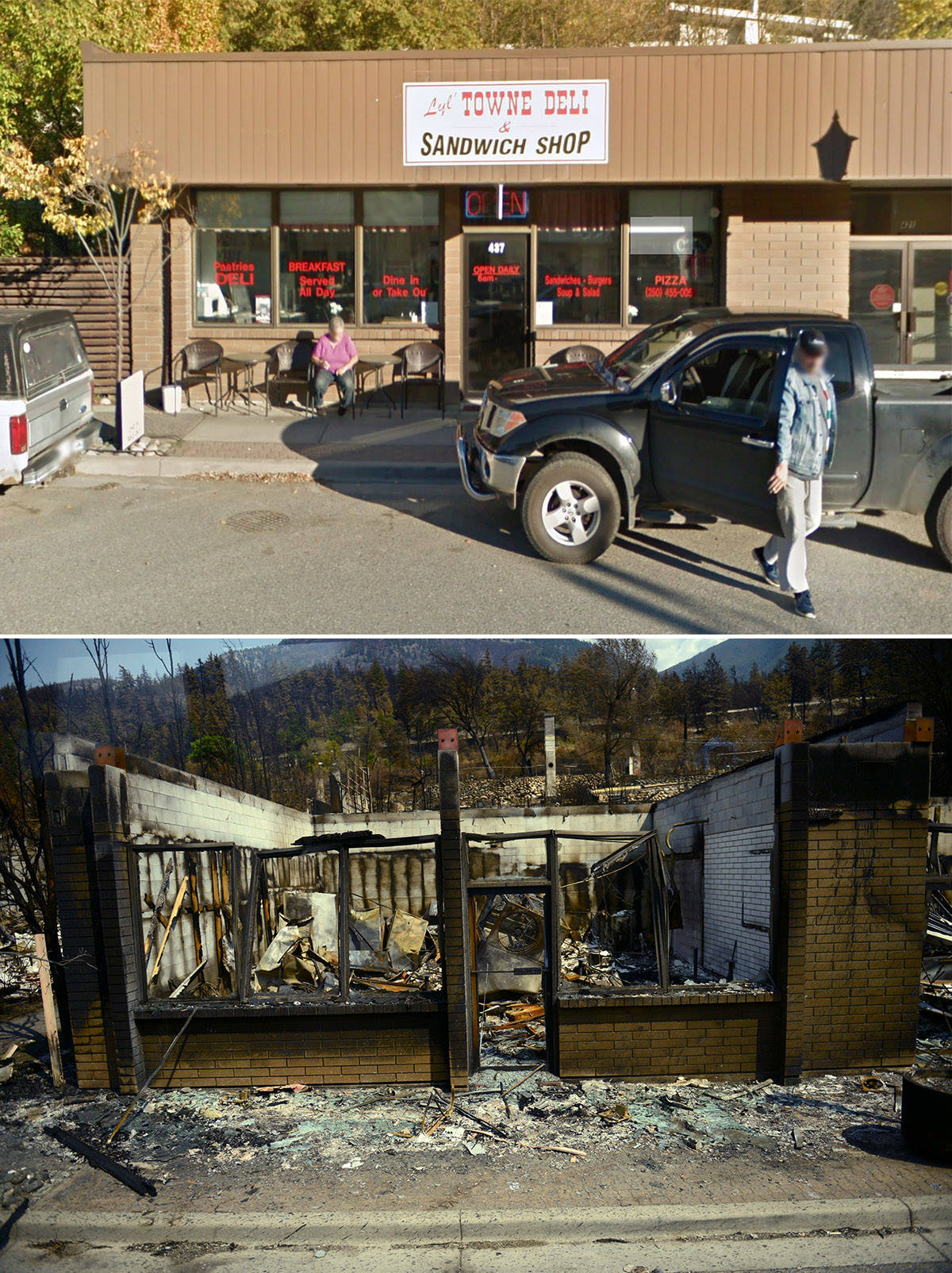 Before and after images of the Village of Lytton, B.C. Before photo taken in 2018 (Google Street View); after photo taken on Friday, July 9, 2021. (Jenna Hauck/ Black Press Media)