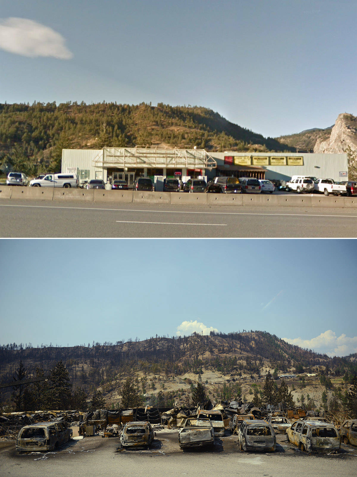 Before and after images of a business on Highway 1 about a kilometre and a half north of the Village of Lytton, B.C. Before photo taken in 2018 (Google Street View); after photo taken on Friday, July 9, 2021. (Jenna Hauck/ Black Press Media)