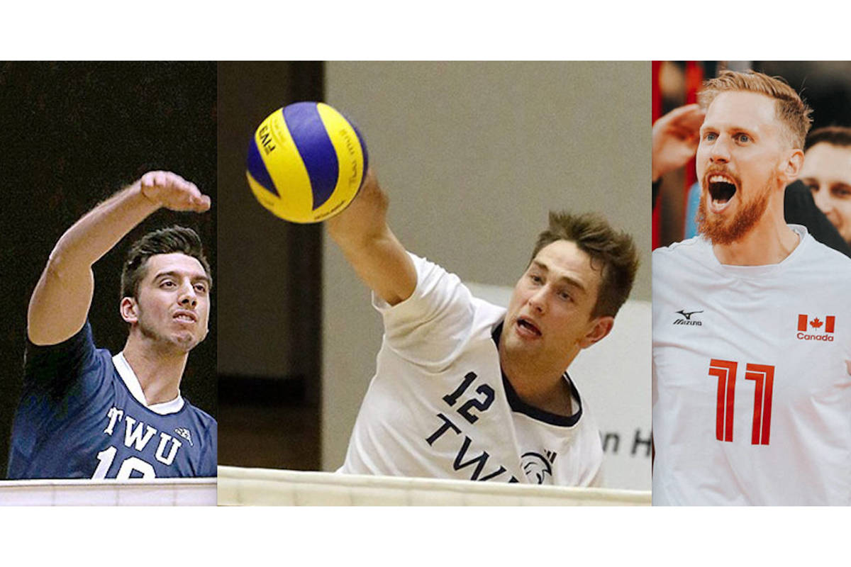 Volleyball players Ryan Sclater, Lucas Van Berkell and Dan Jansen Van Doorn are part of the TWU contingent selected by Team Canada. (file)