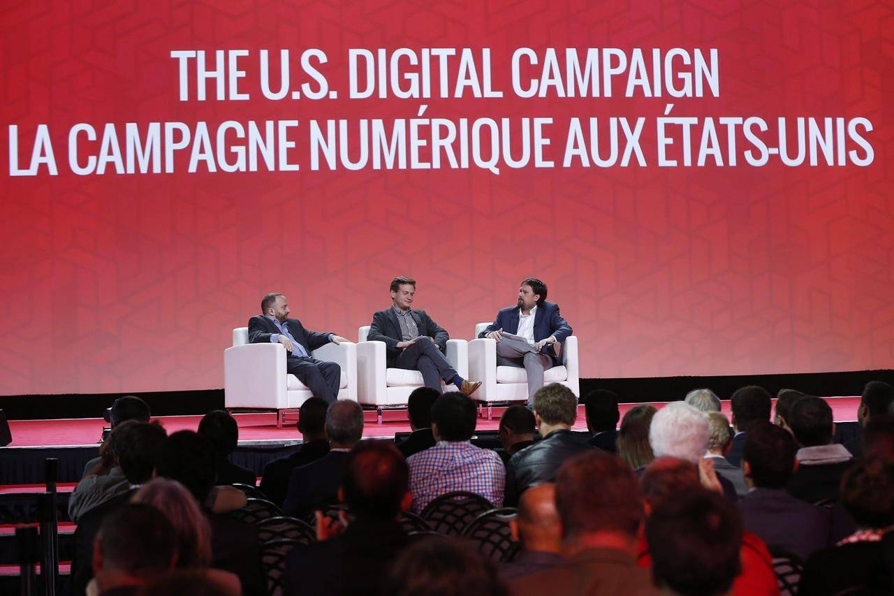 Scott Goodstein (from left), CEO of Revolution Messaging, which is leading the digital efforts for Bernie Sanders' 2016 Presidential campaign, Teddy Goff, Chief Tech and Digital Strategist for Hillary Clinton's 2016 Presidential Campaign and Tom Pitfield, Chief Digital Strategist for Prime Minister Justin Trudeau's successful 2015 federal election campaign speak at the 2016 Liberal Biennial Convention in Winnipeg on Friday, May 27, 2016. THE CANADIAN PRESS/John Woods