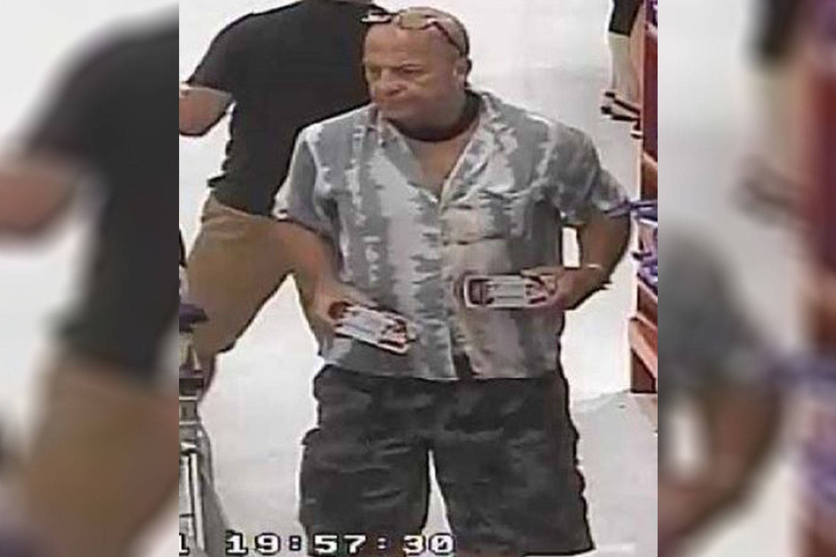 The pictured male is alleged to have stolen approximately $1000 worth of product from Superstore on July 5th. (Langley RCMP)