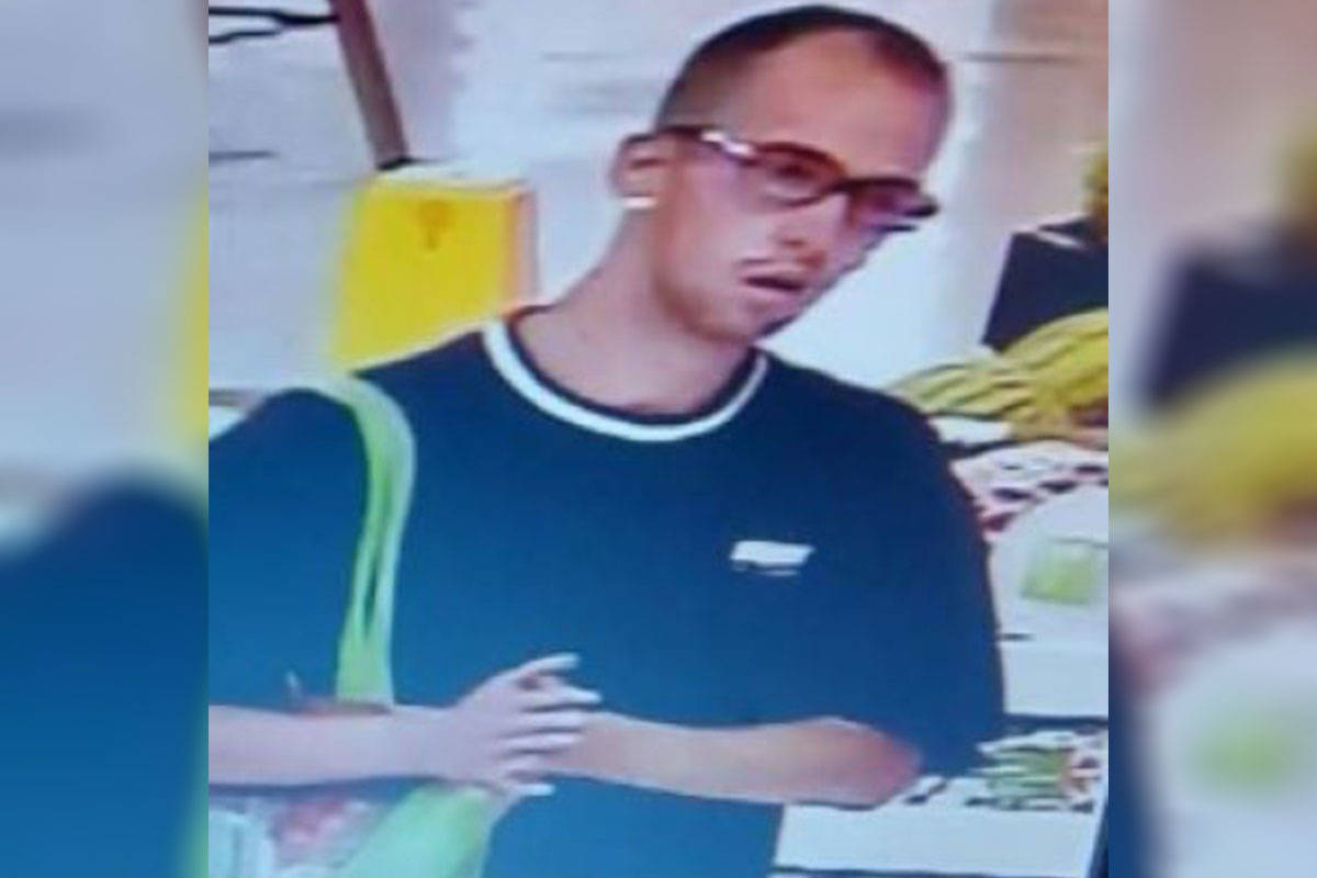 Police allege the pictured man stole electronics worth approximately $200 from Superstore on July 11th. (Langley RCMP)