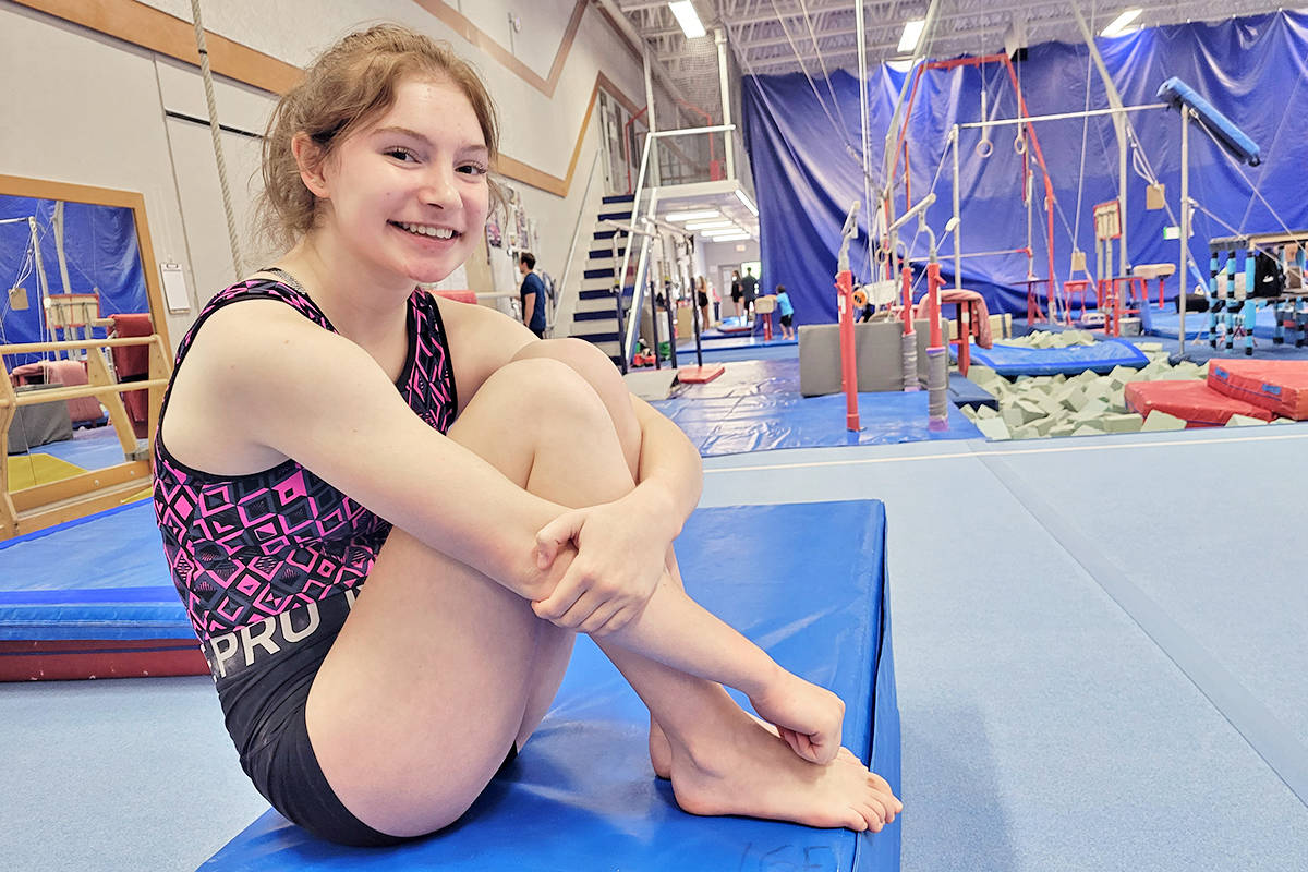Kennedy Duke, 16, at the Langley Gymnastics Foundation on Tuesday, July 13. She won all-around Canadian champion in the 16+ category of the 2021 JO/Novice Canadian Championships. (Dan Ferguson/Langley Advance Times)
