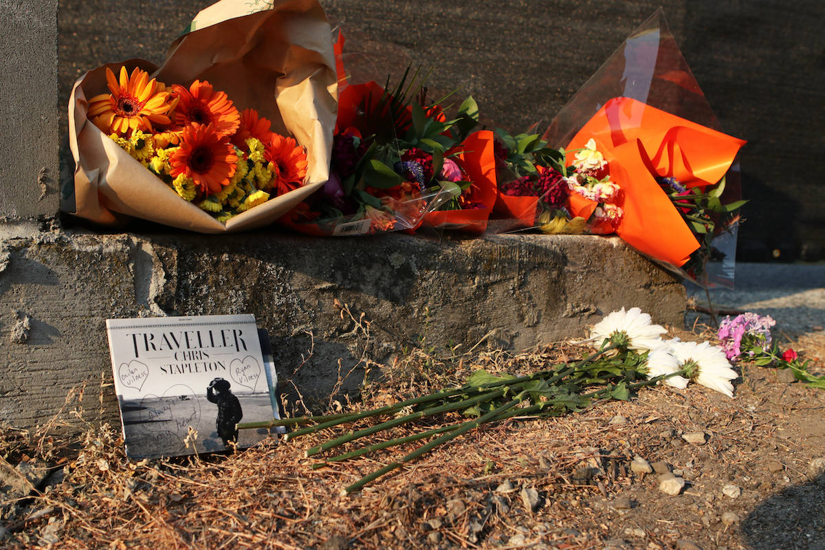 A tribute to Cailen Vilness sits outside of the site of the crane collapse. (Aaron Hemens/Capital News)