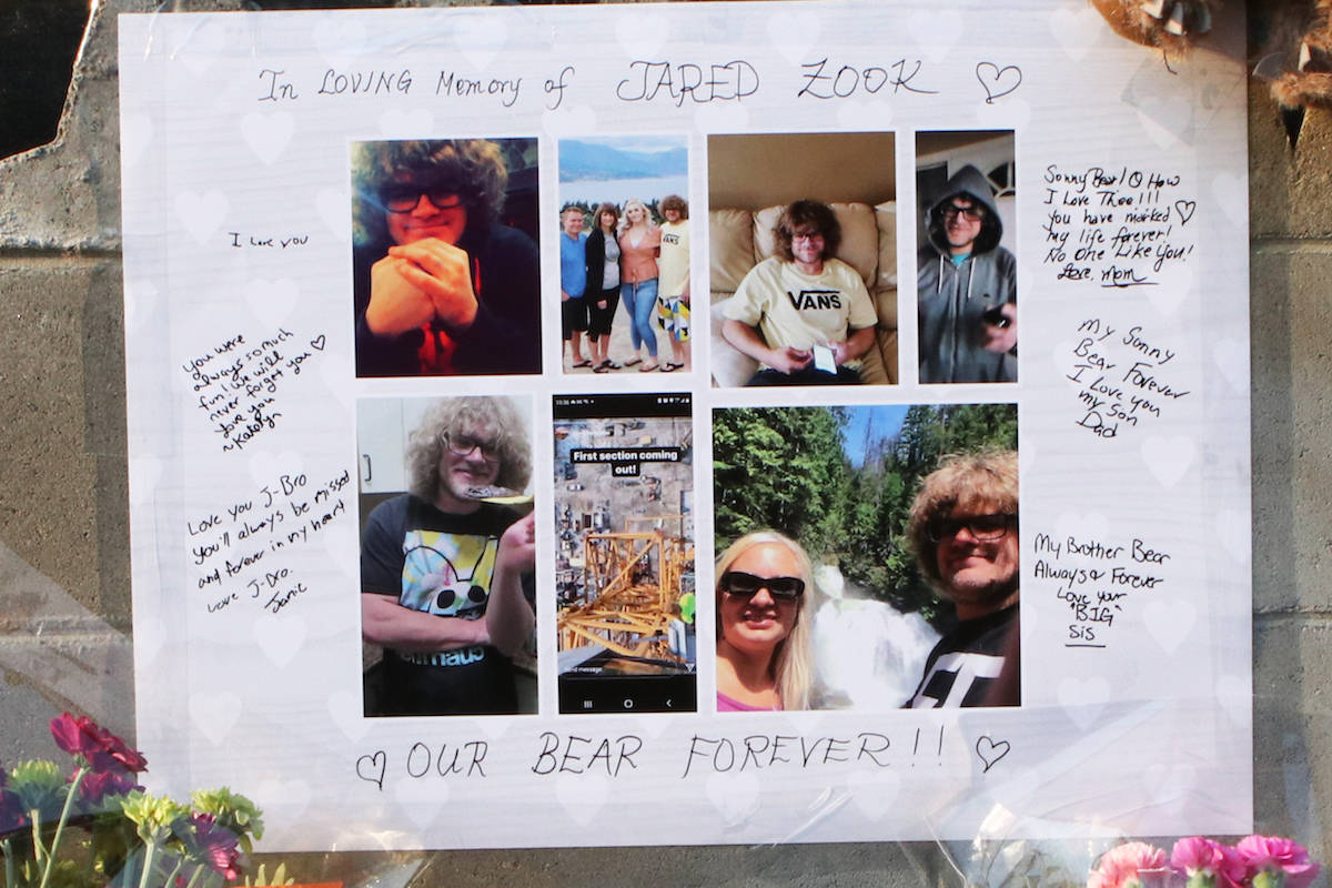 A tribute to Jared Zook sits outside of the site of the crane collapse. (Aaron Hemens/Capital News)