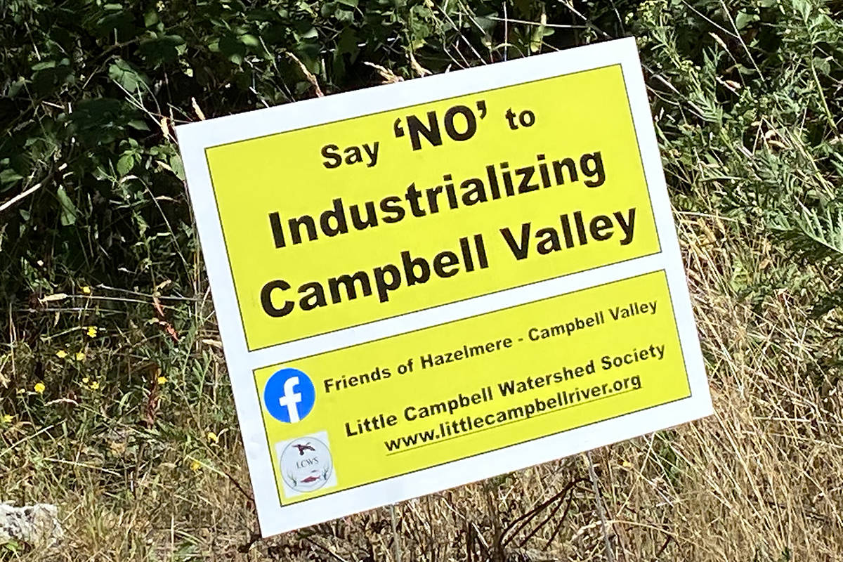 A sign posted at the edge of 192 Street near 20 Avenue reads 'Say 'NO' to Industrializing Campbell Valley.' (Peace Arch News staff photo)
