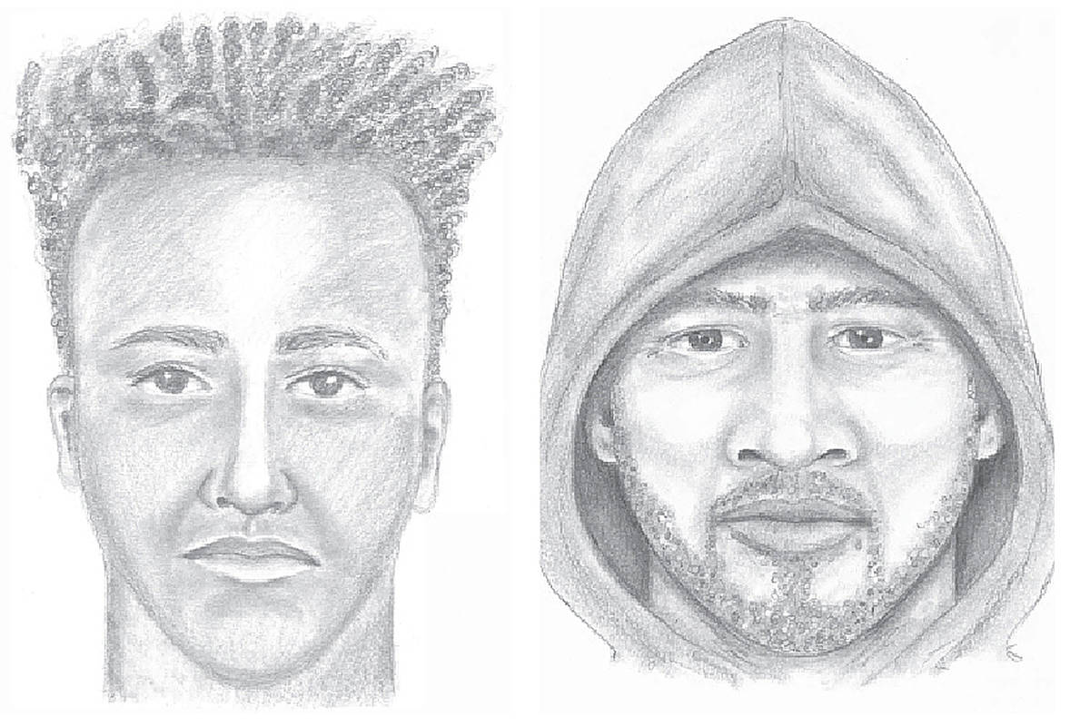 Police sketches of the two suspects in Guildford-area attacks. On the left is the suspect in the July 9 incident in the 14200-block of 104th Avenue, while the suspect on thr right is from the July 12 incident at Tynehead Park. (Images: Surrey RCMP)