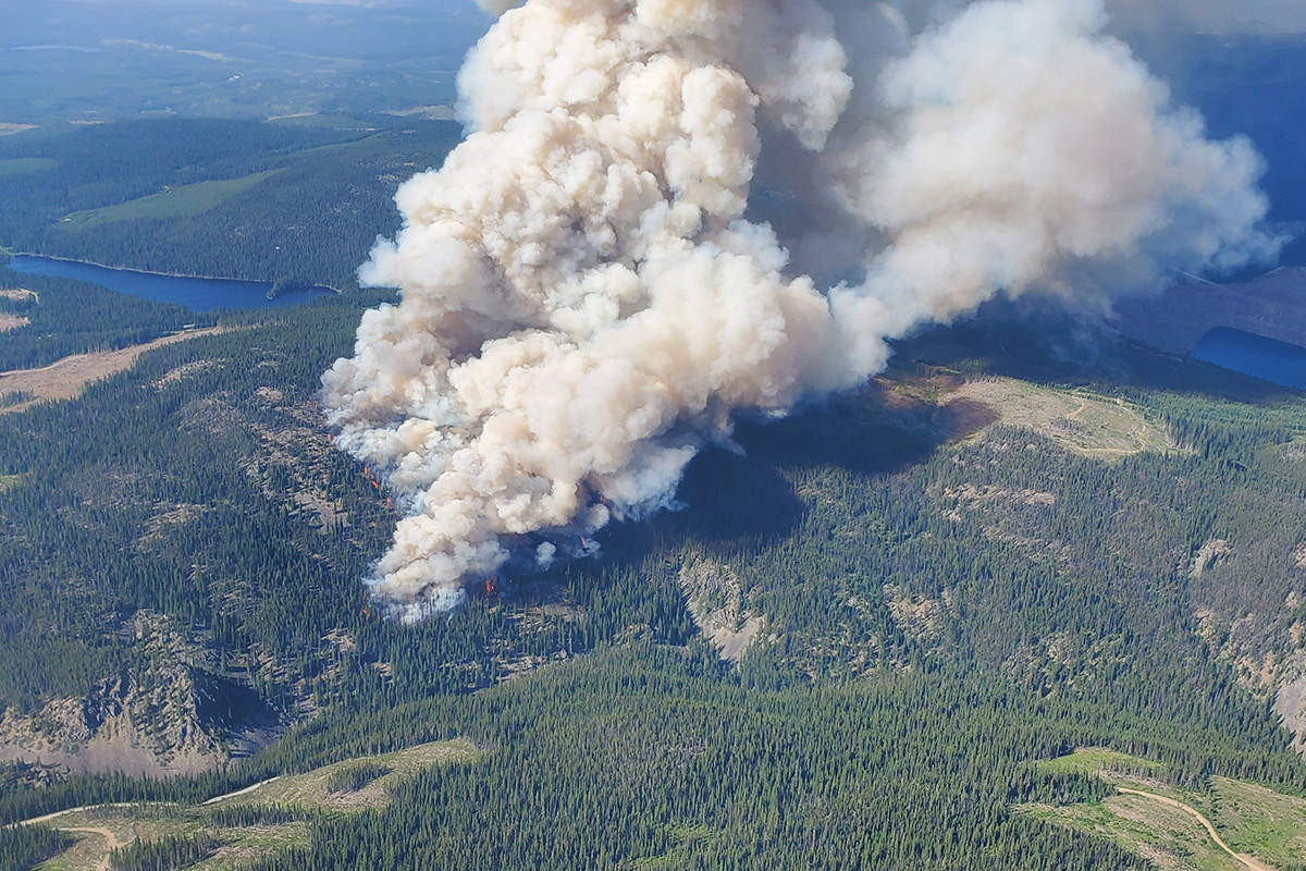 The B.C. Wildfire Service is battling a fire on the Okanagan Connector about 40 kilometres from West Kelowna Wednesday, July 14. The fire is estimated to be 40 hectares in size. (B.C. Wildfire Service photo)