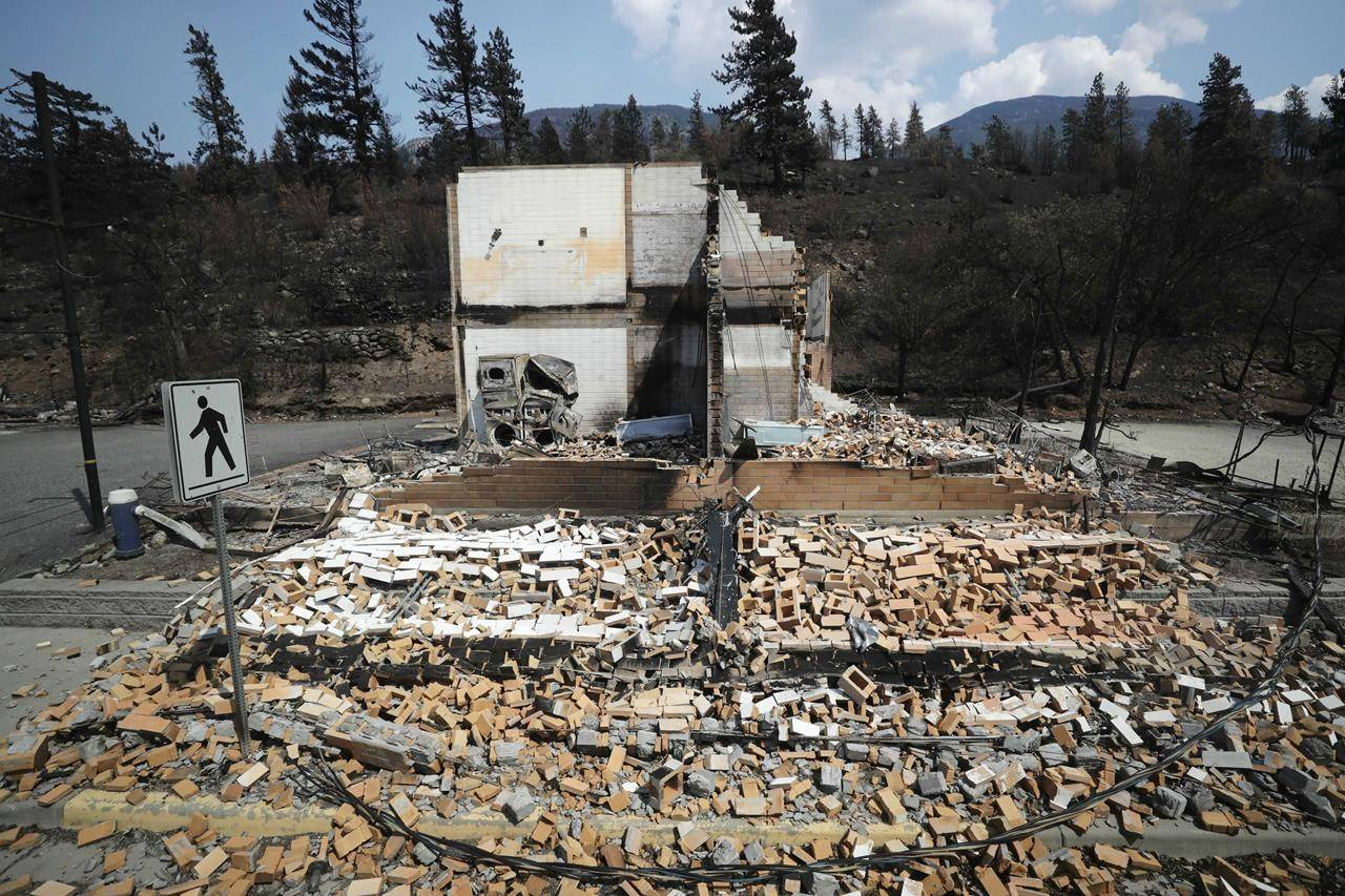 Damaged structures are seen in Lytton, B.C., on Friday, July 9, 2021, after a wildfire destroyed most of the village on June 30. THE CANADIAN PRESS/Darryl Dyck