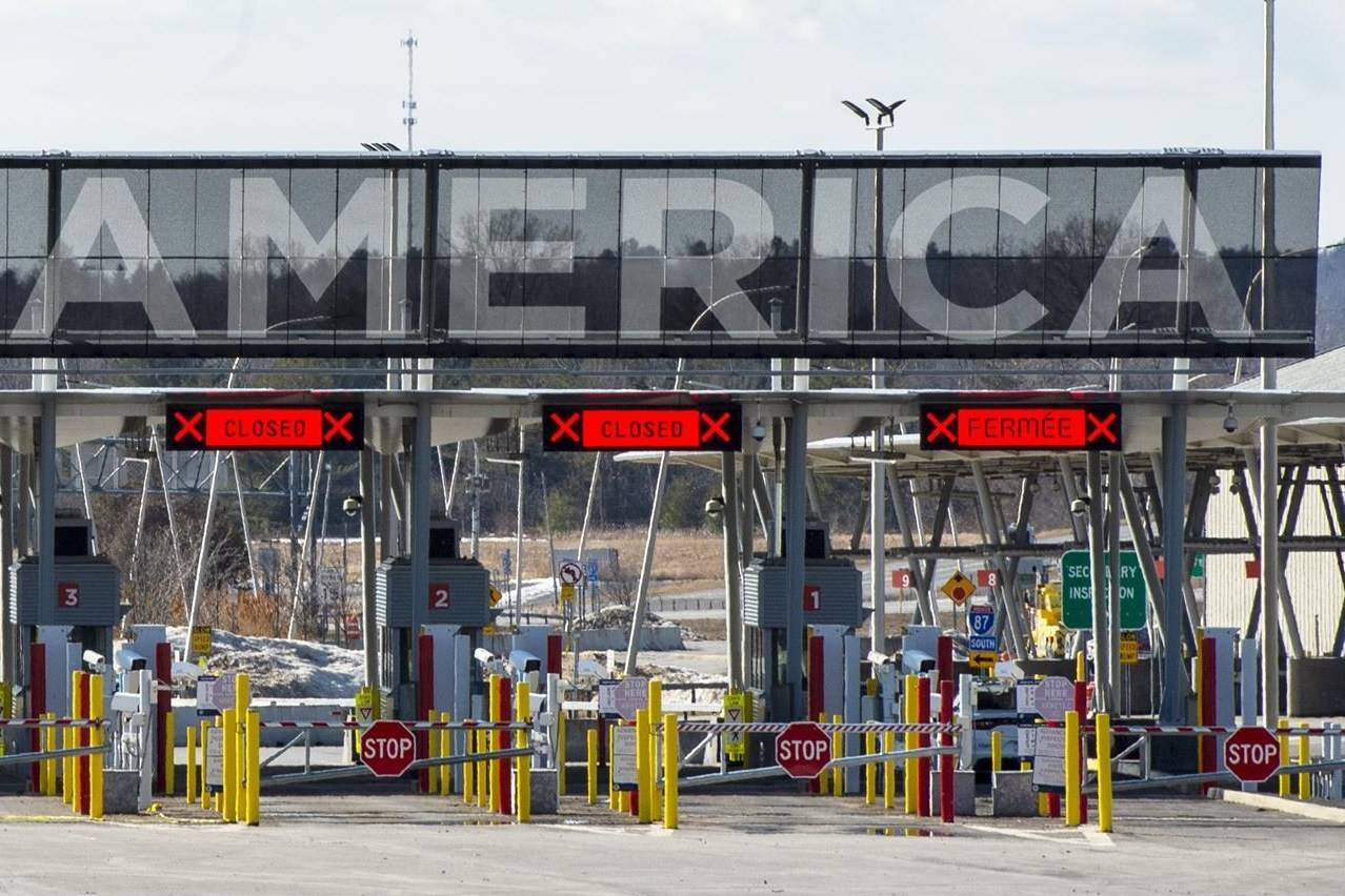 The United States border crossing is seen Wednesday, March 18, 2020 in Lacolle, Que. A coalition of frustrated legislators from across the U.S. Midwest is formally asking the White House and Canada's federal government to reopen the border to fully vaccinated travellers. THE CANADIAN PRESS/Ryan Remiorz