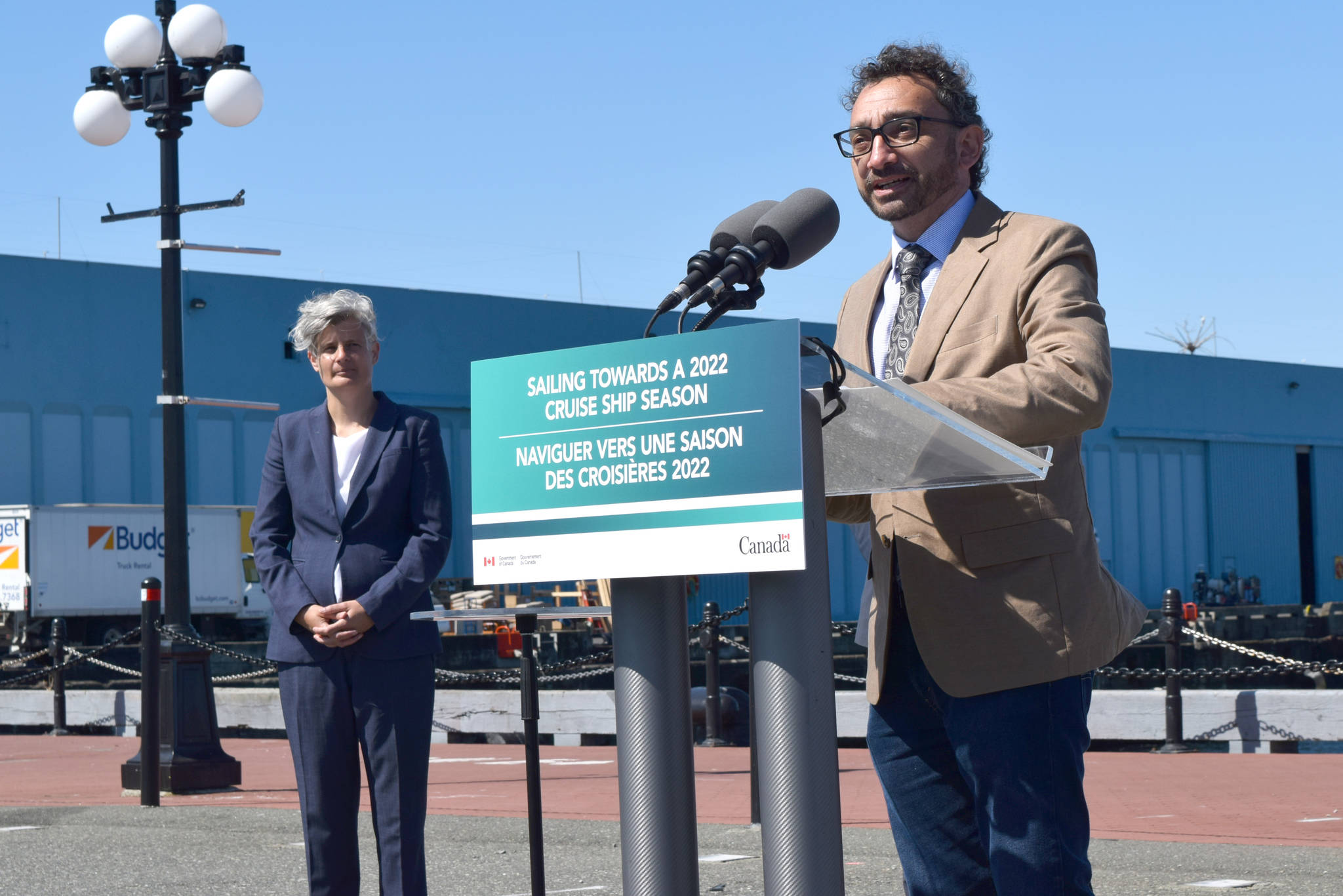 Federal Minister of Transportation Omar Alghabra announces the resumption of international cruise ships in Canadian waters for Nov. 1. (Kiernan Green/News Staff)