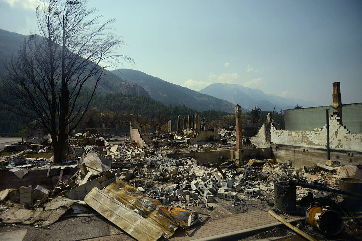 A row of properties in the Village of Lytton, B.C. on Friday, July 9, 2021 following a massive wildfire that tore through the town destroying 90 per cent of it. (Jenna Hauck/ Black Press Media)
