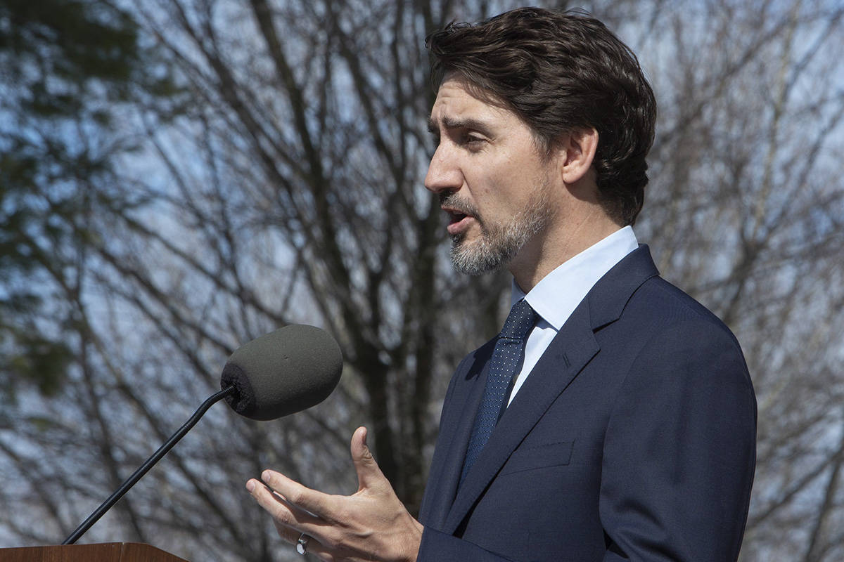 Prime Minister Justin Trudeau holds a news conference at Rideau cottage in Ottawa, on Friday, March 13, 2020. THE CANADIAN PRESS/Fred Chartrand