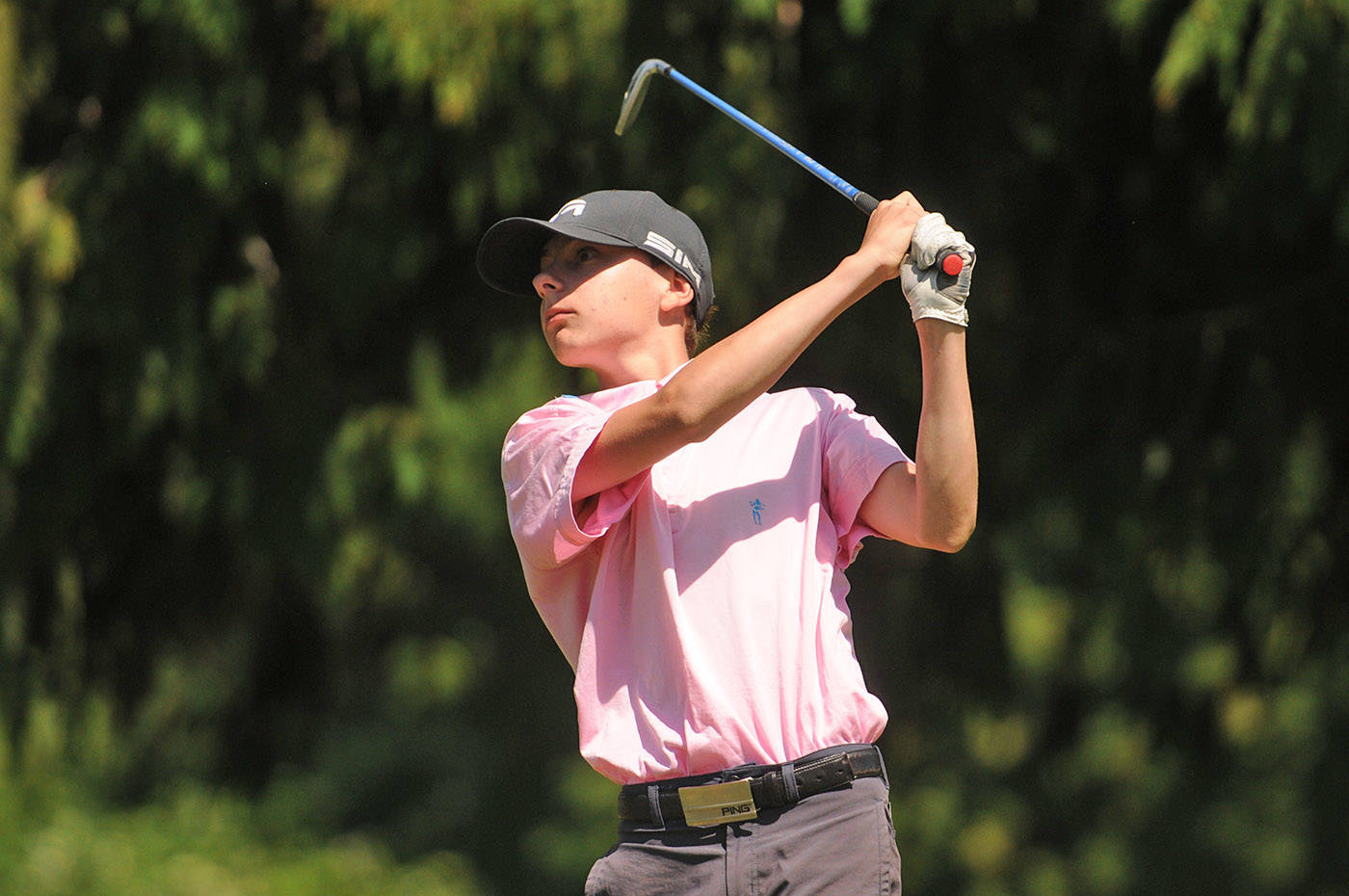 Chilliwack's Joe Corke tees off from the fourth hole at Chilliwack Golf Club during the final round of the 2021 Optimist Fred Wellsby Junior Divot golf tournament on Thursday, July 15, 2021. (Jenna Hauck/ Chilliwack Progress)