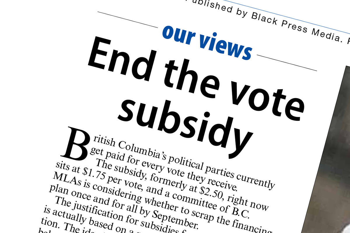 The Langley Advance Times editorial of June 24, 2021, questionned public money going to political parties during elections. (Langley Advance Times graphic)