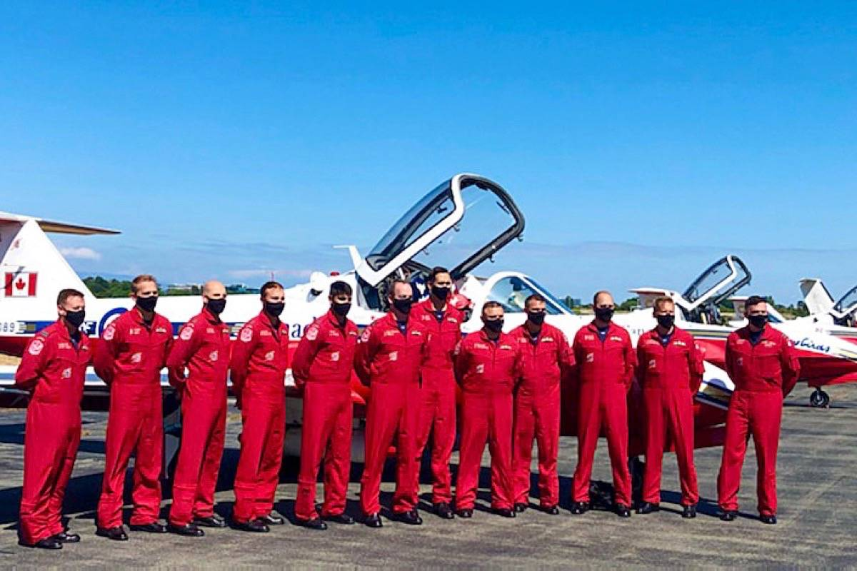 The Canadian Forces' Snowbirds pose for a photo after arriving in Vancouver on July 15, 2021. (Contributed photo)